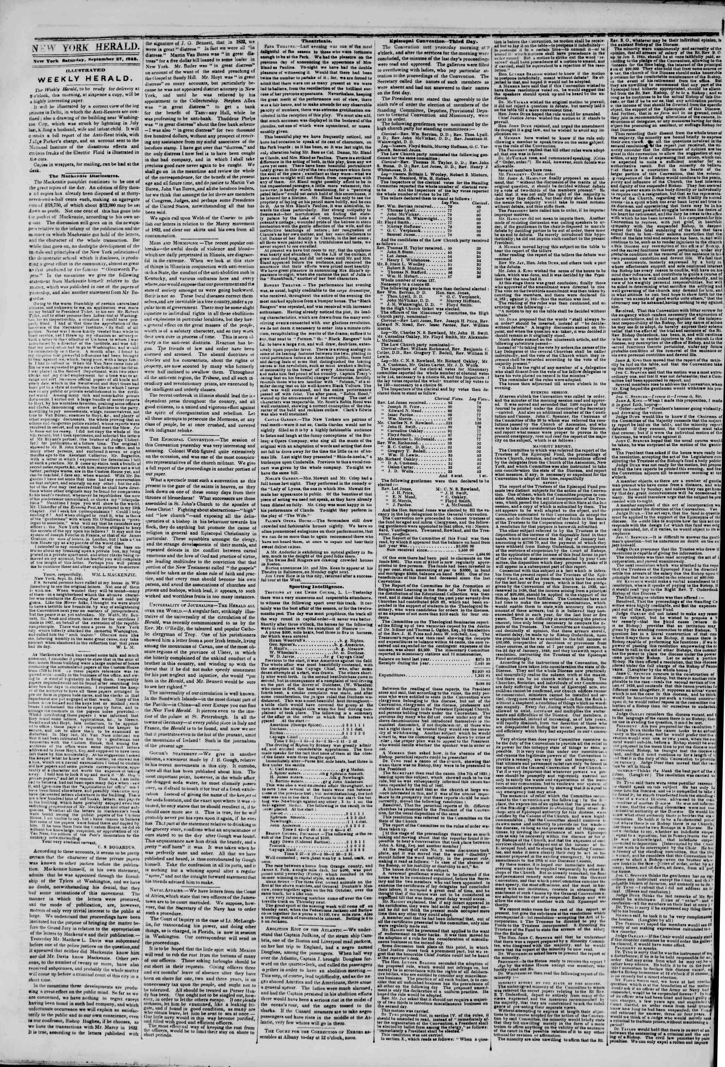 Newspaper of The New York Herald dated September 27, 1845 Page 2