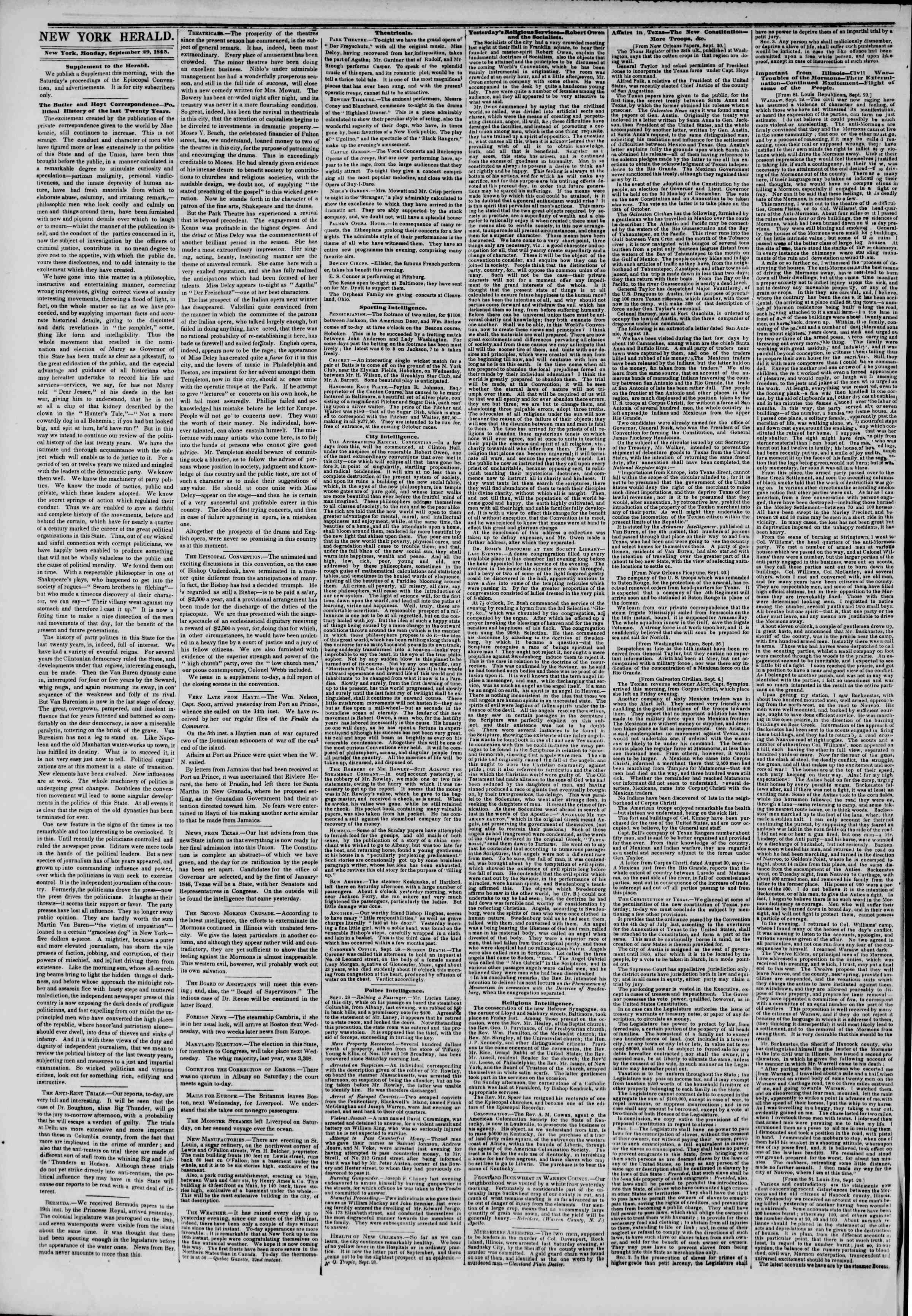 Newspaper of The New York Herald dated 29 Eylül 1845 Page 2