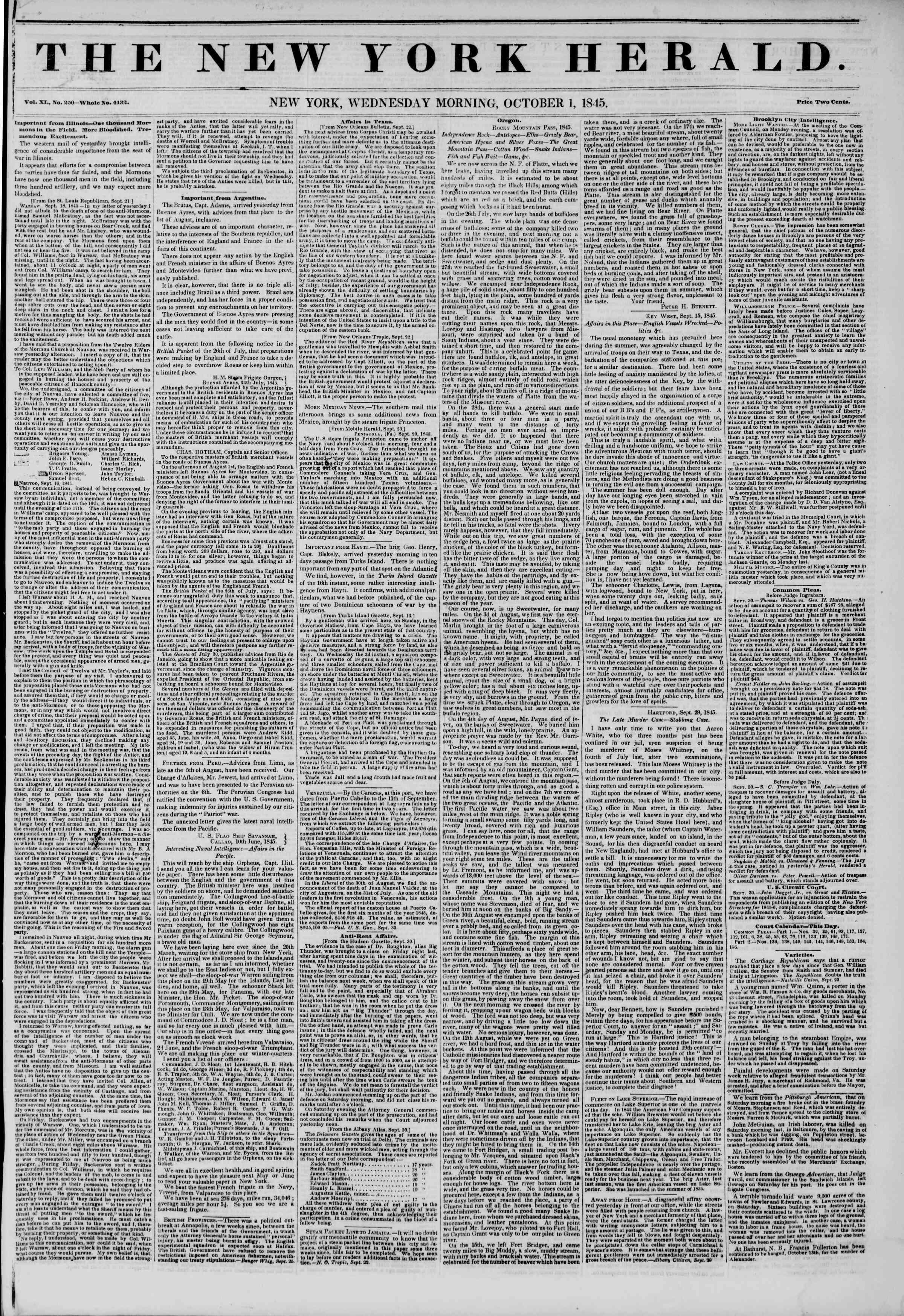 October 1, 1845 Tarihli The New York Herald Gazetesi Sayfa 1