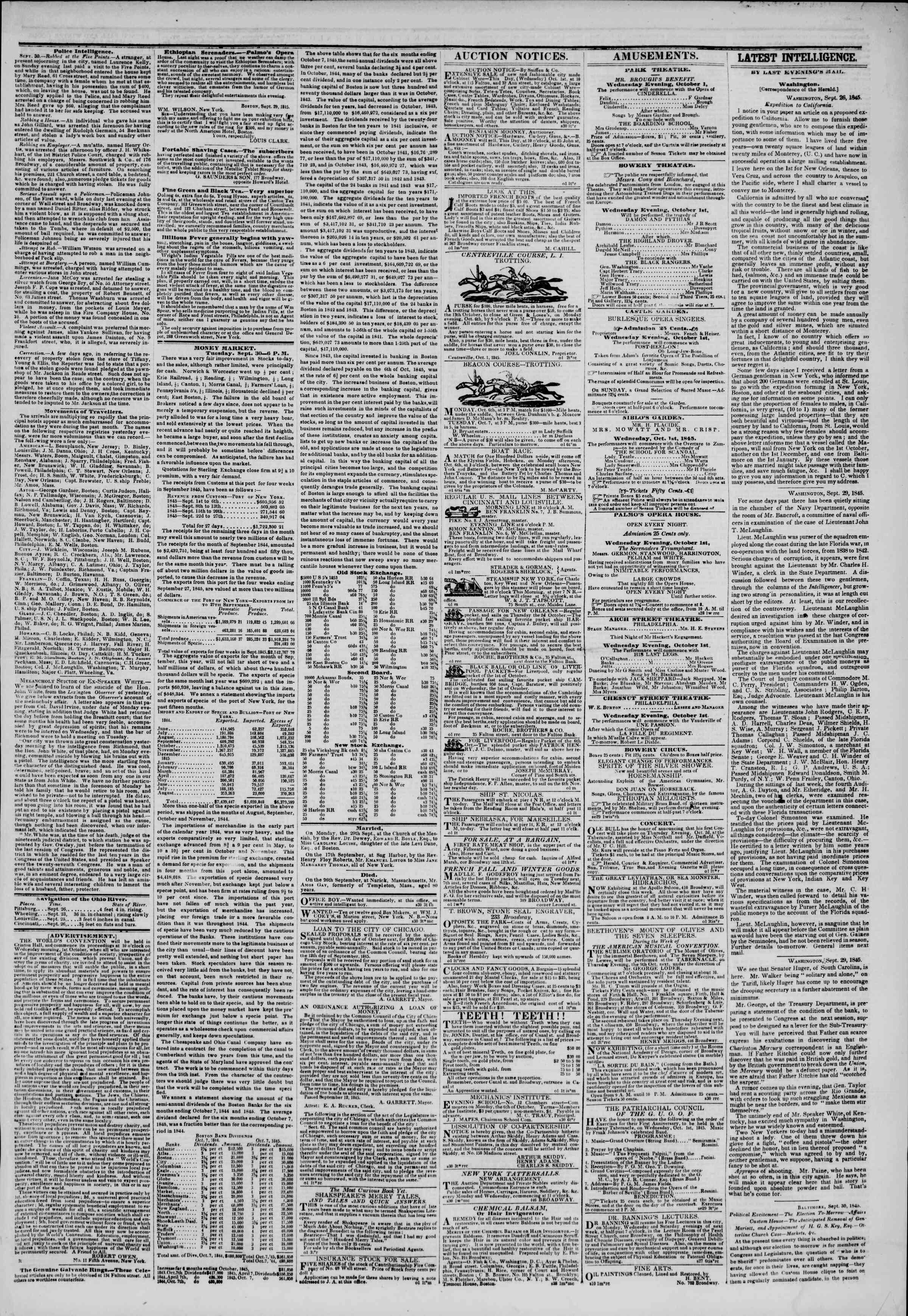 October 1, 1845 Tarihli The New York Herald Gazetesi Sayfa 3