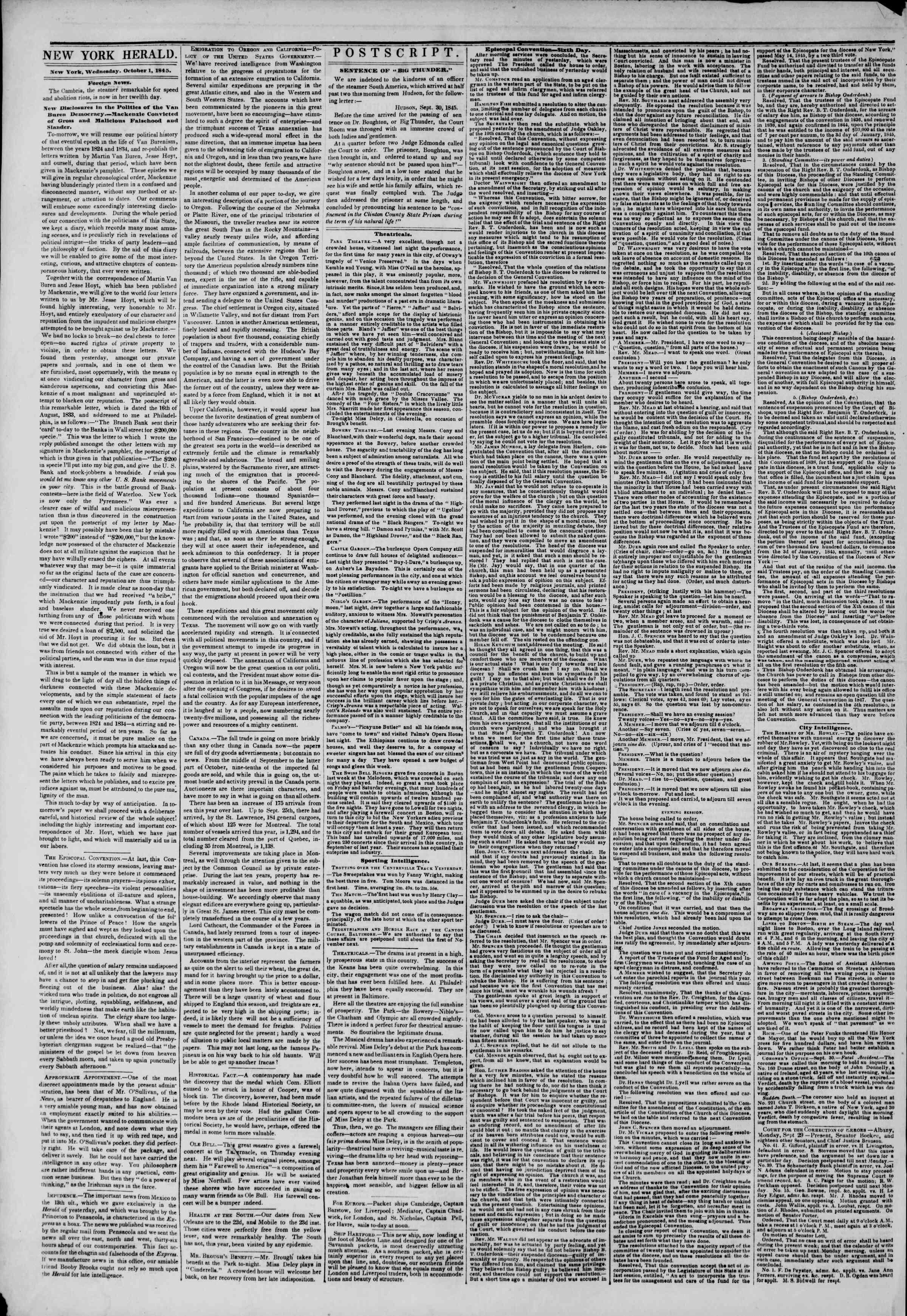 October 1, 1845 Tarihli The New York Herald Gazetesi Sayfa 4