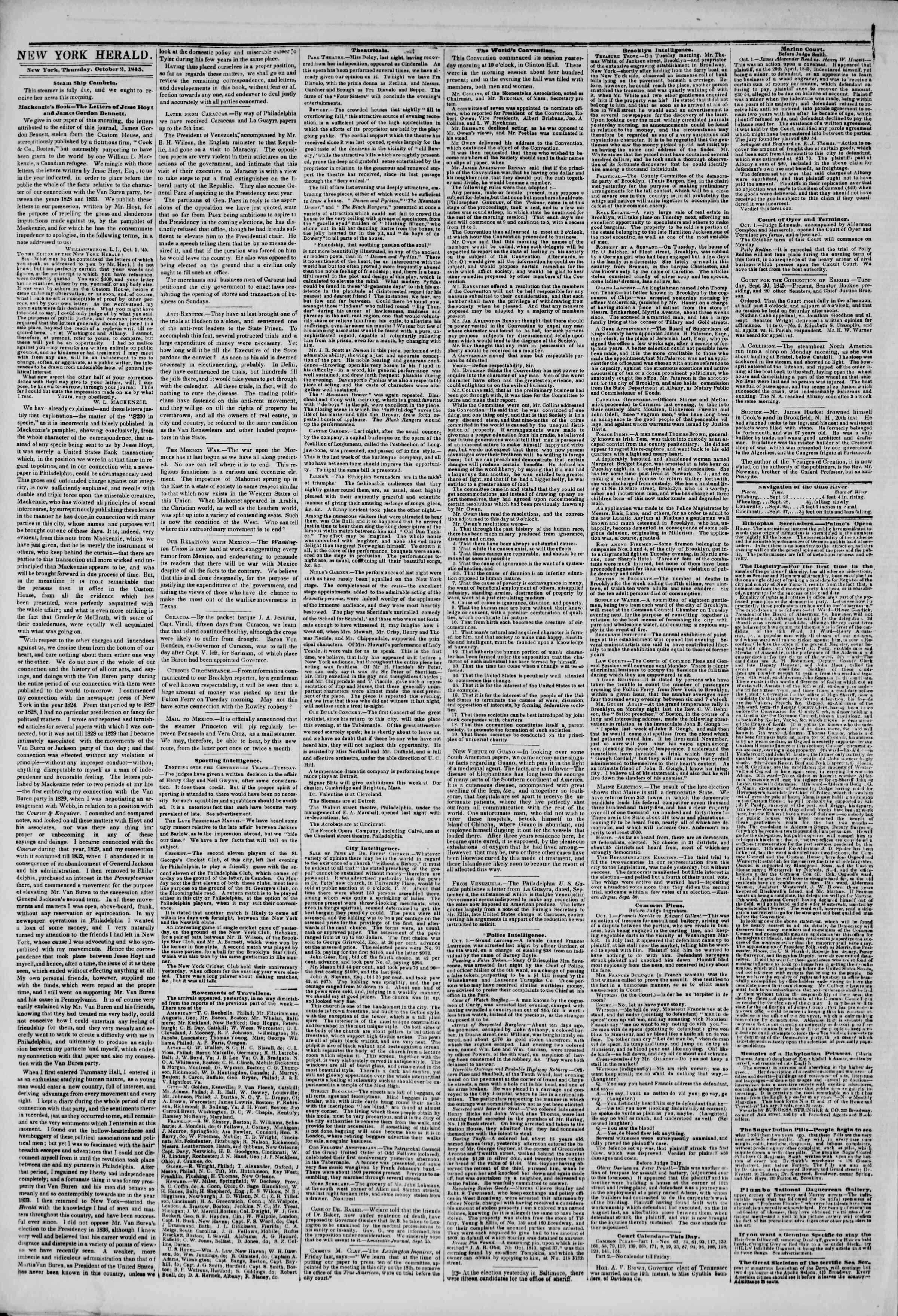 October 2, 1845 Tarihli The New York Herald Gazetesi Sayfa 2