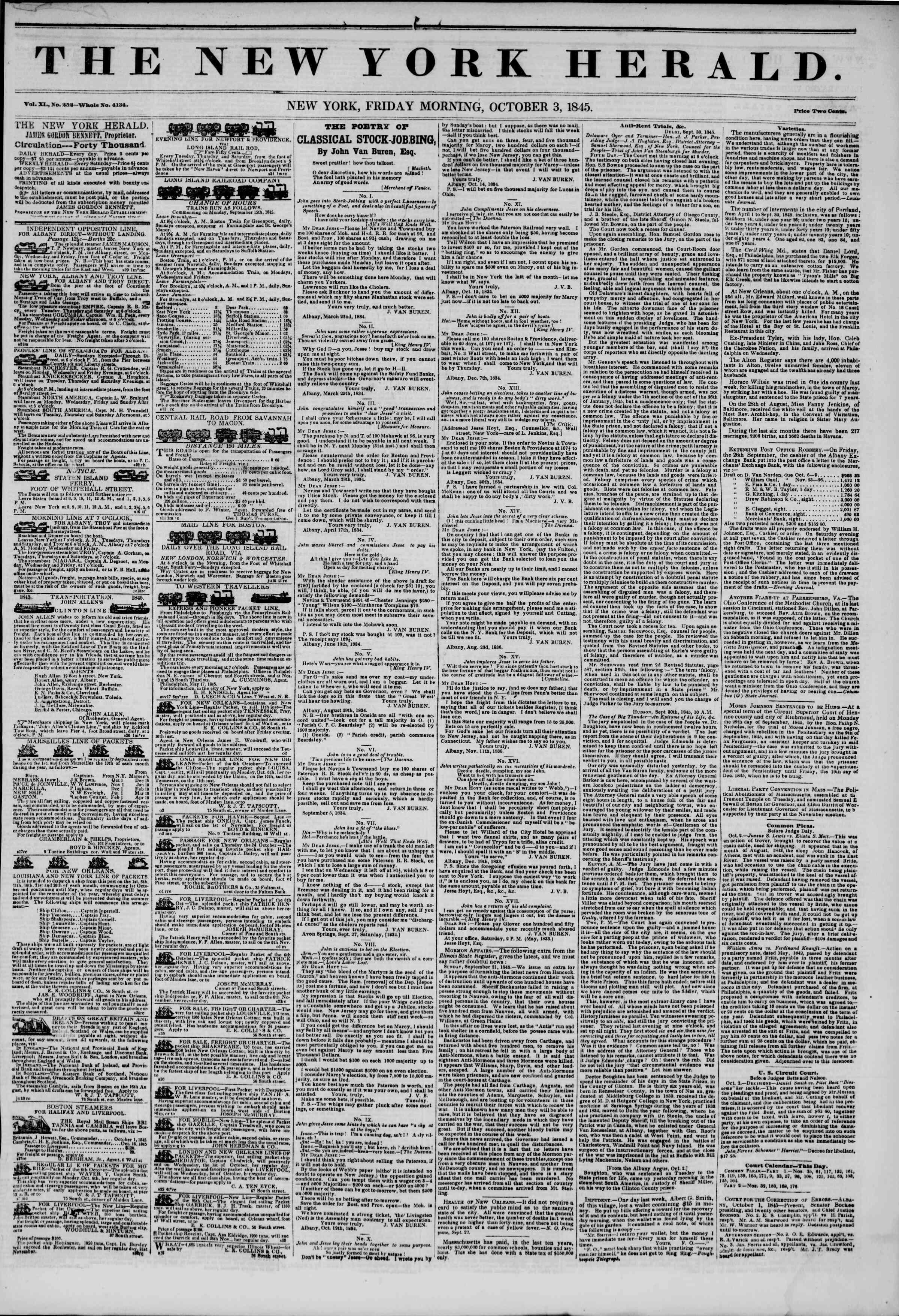 October 3, 1845 Tarihli The New York Herald Gazetesi Sayfa 1