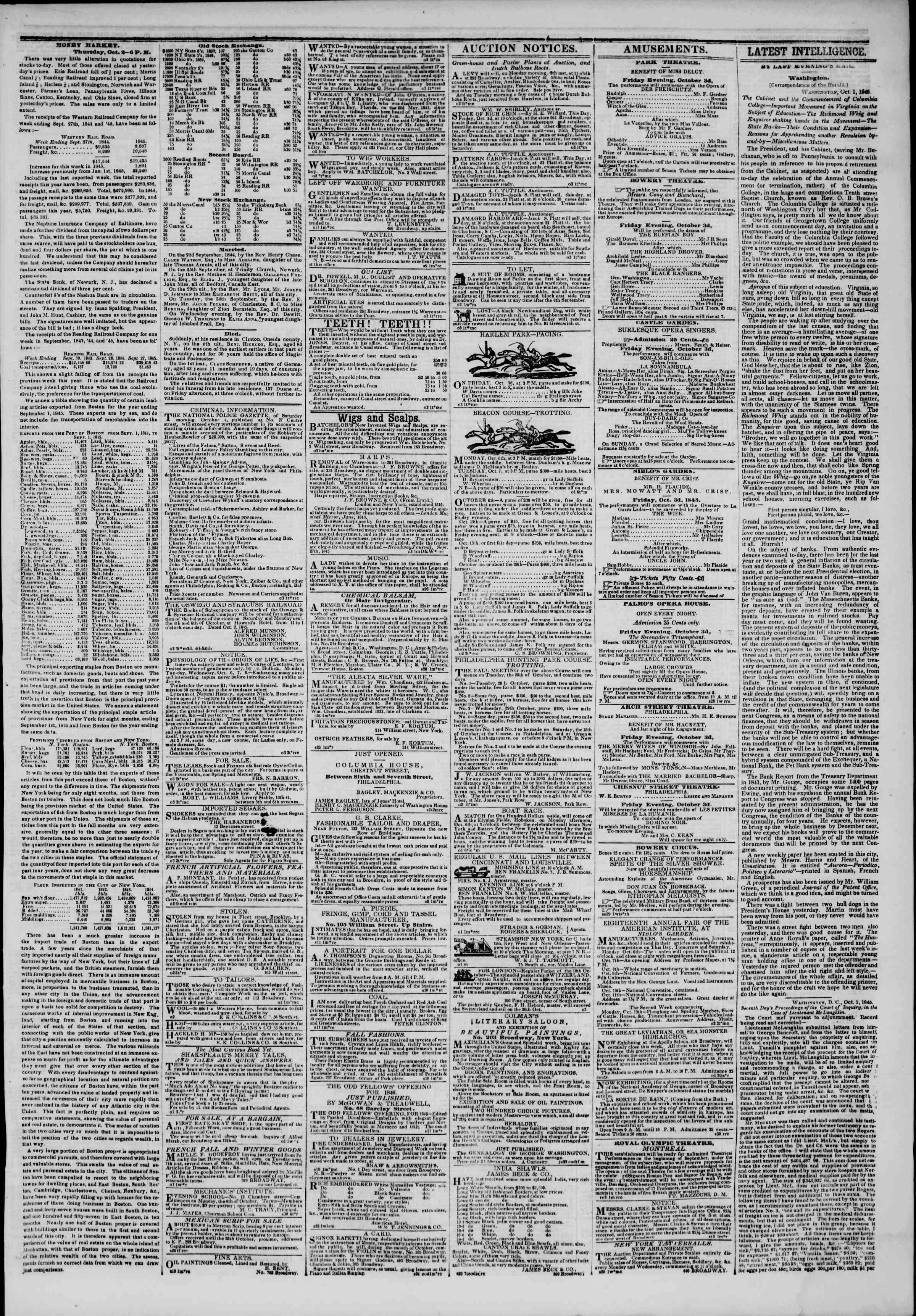 October 3, 1845 Tarihli The New York Herald Gazetesi Sayfa 3