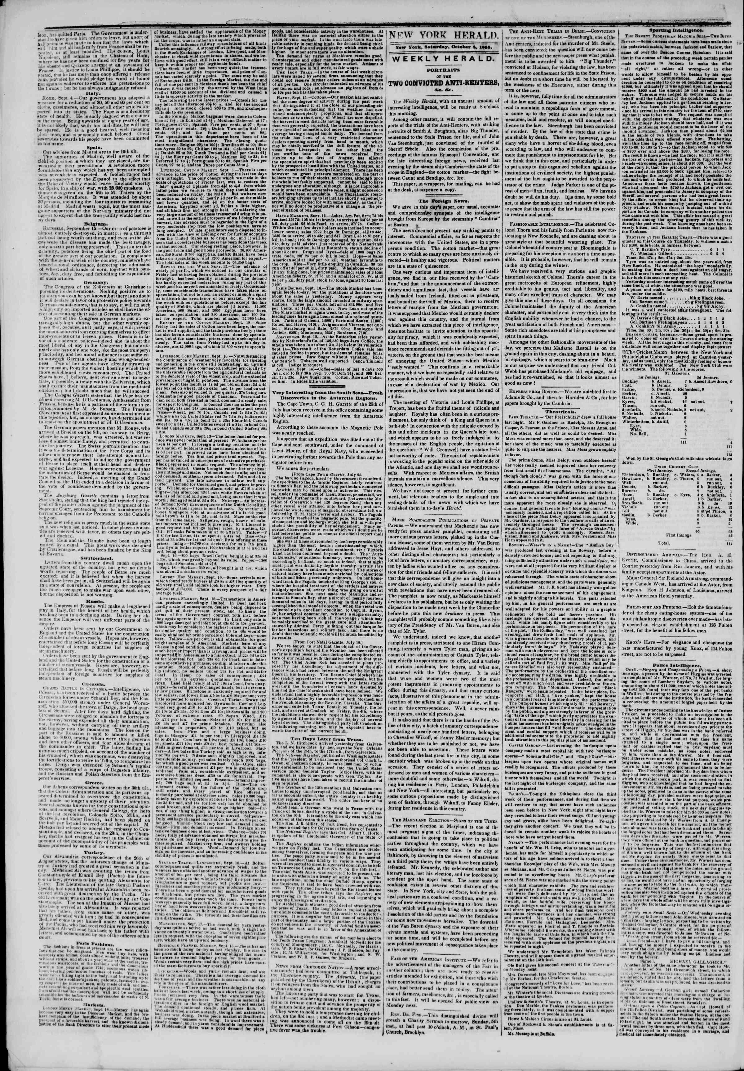 October 4, 1845 Tarihli The New York Herald Gazetesi Sayfa 2