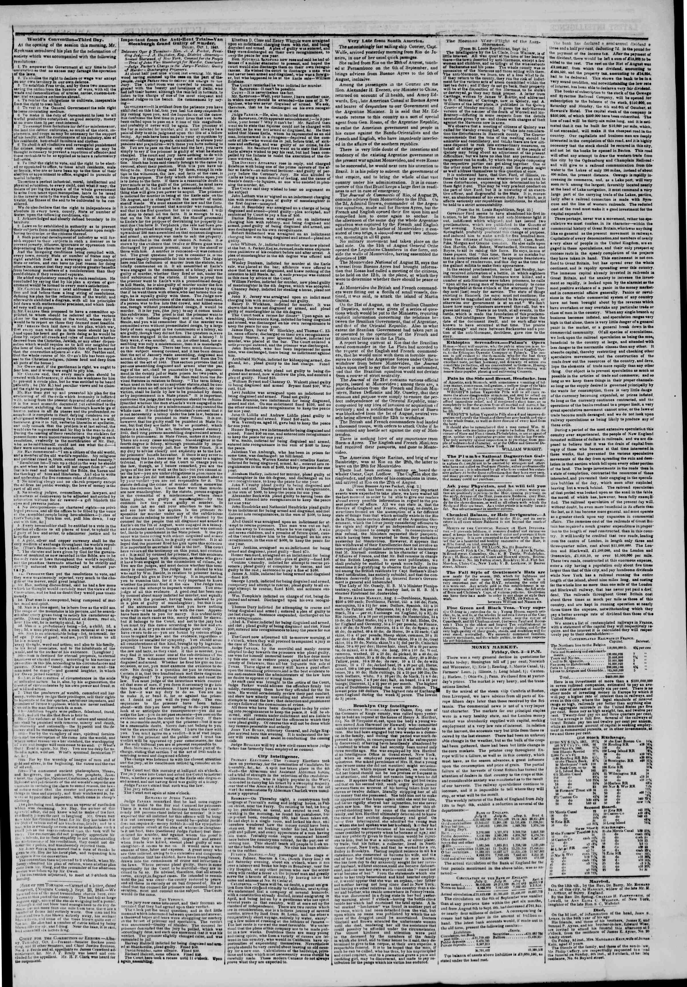 October 4, 1845 Tarihli The New York Herald Gazetesi Sayfa 3