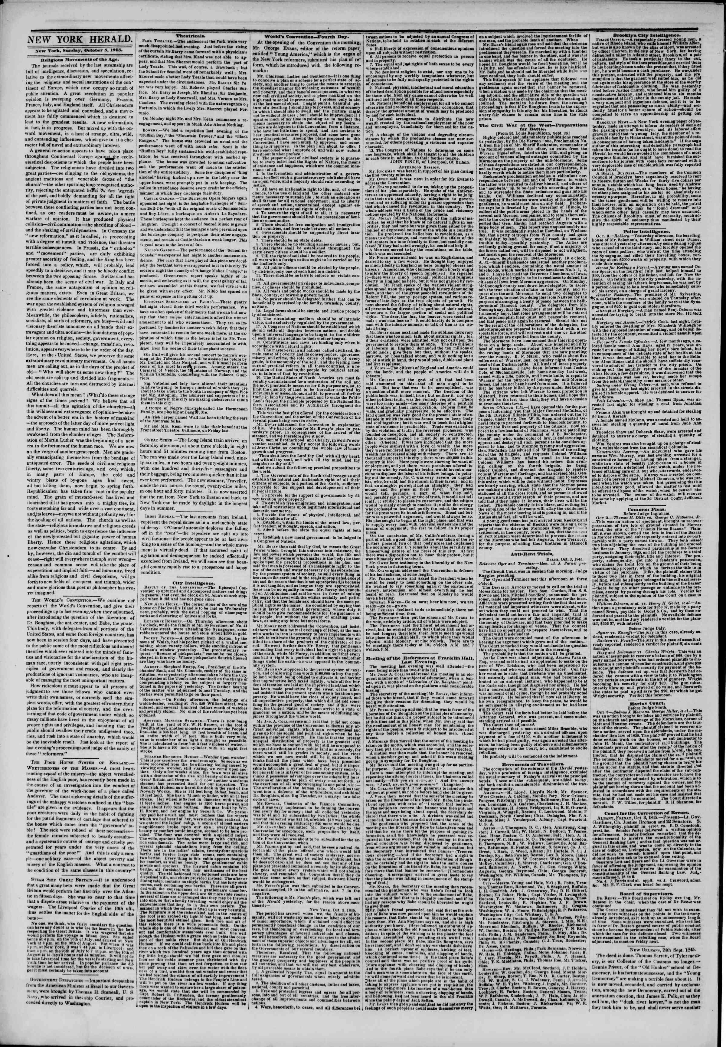 October 5, 1845 Tarihli The New York Herald Gazetesi Sayfa 2