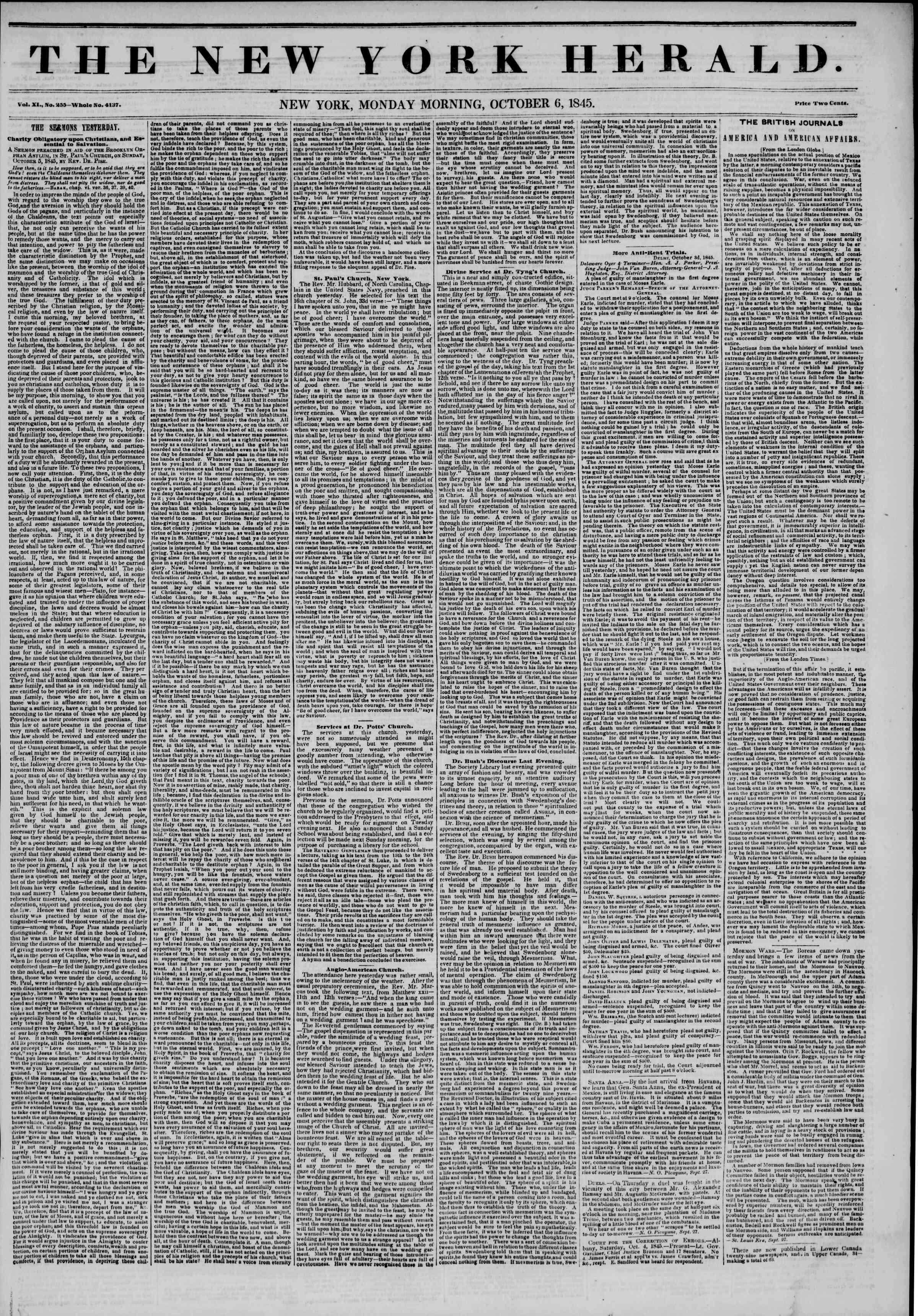October 6, 1845 Tarihli The New York Herald Gazetesi Sayfa 1