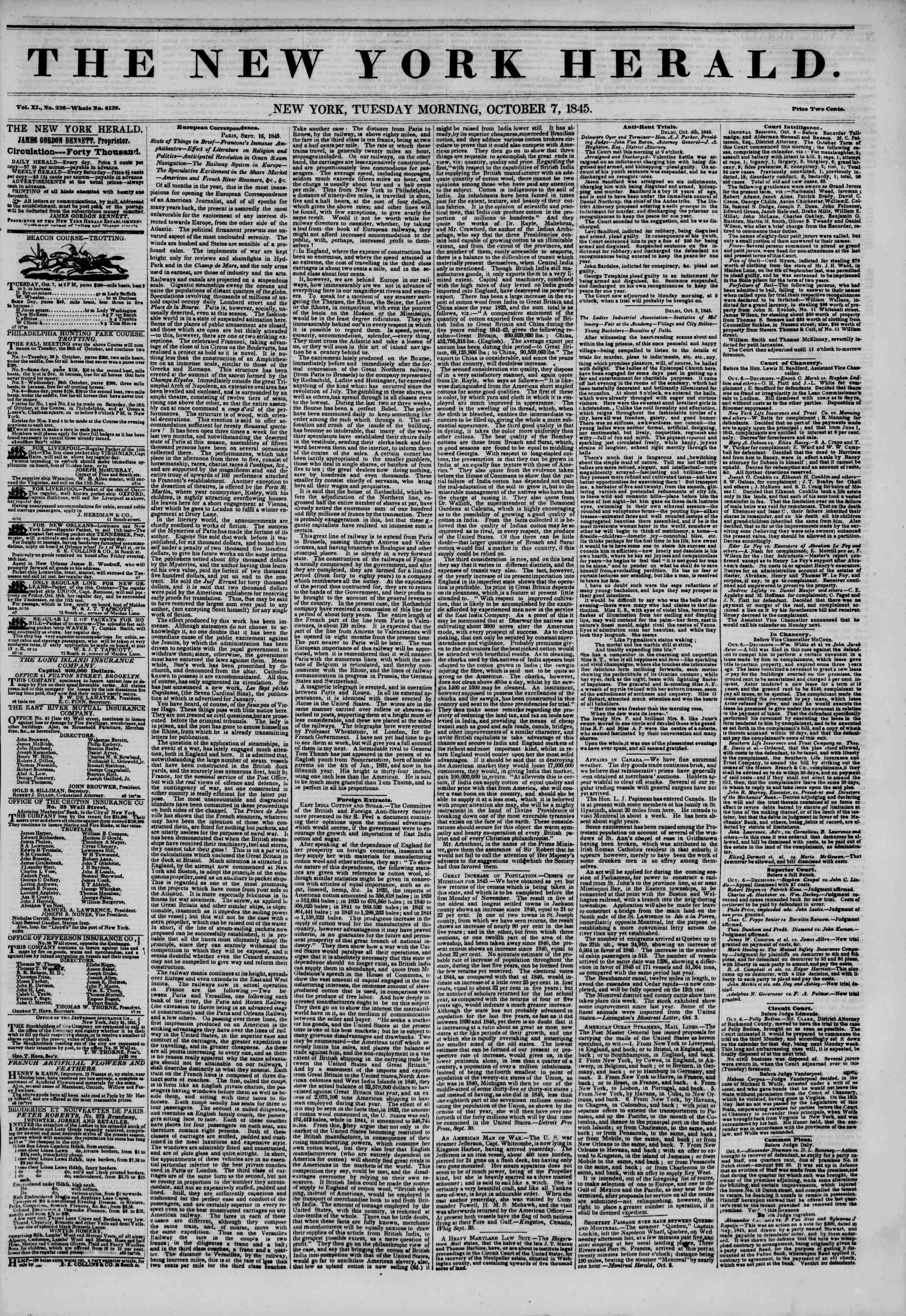 Newspaper of The New York Herald dated October 7, 1845 Page 1