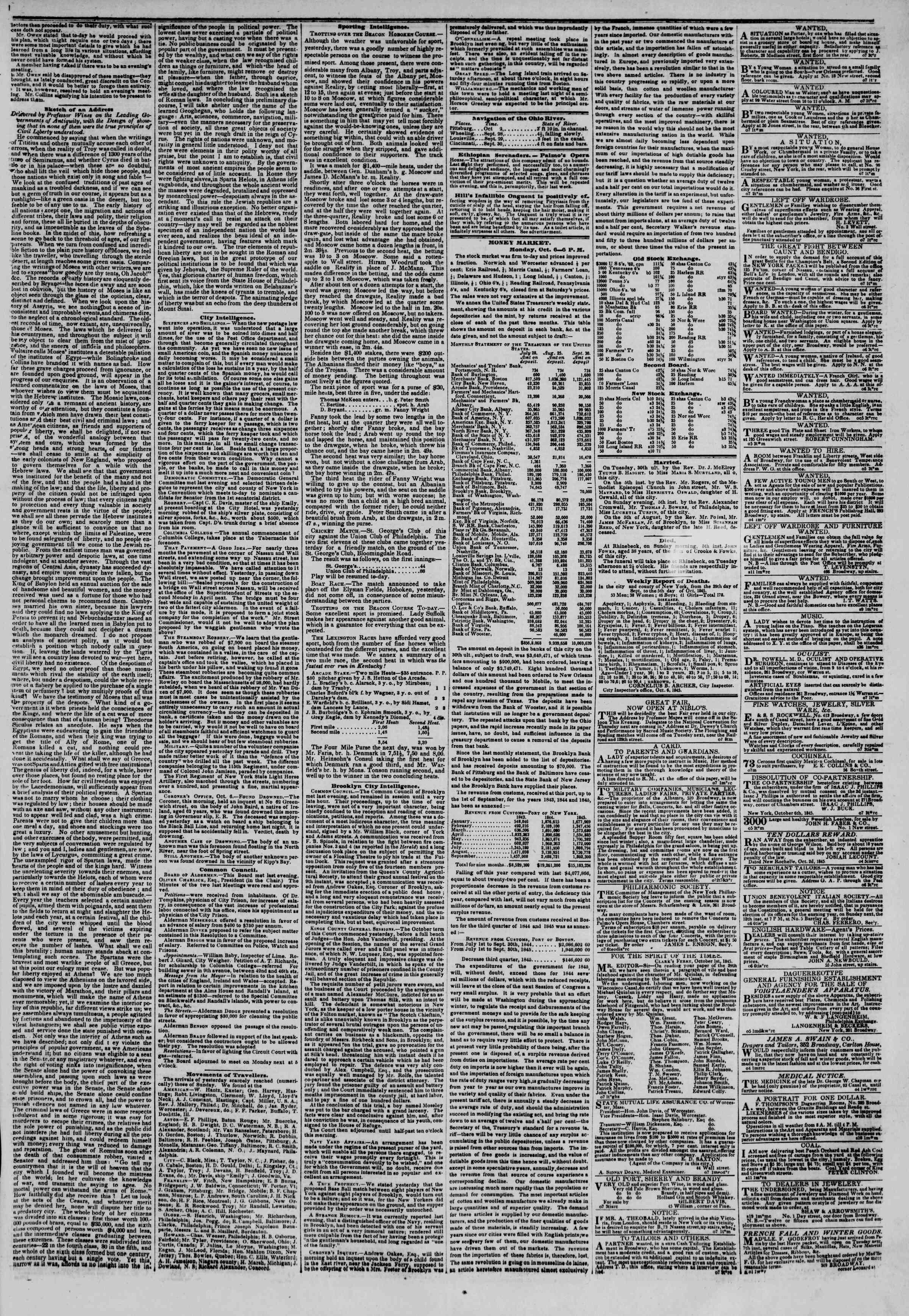 October 7, 1845 Tarihli The New York Herald Gazetesi Sayfa 3