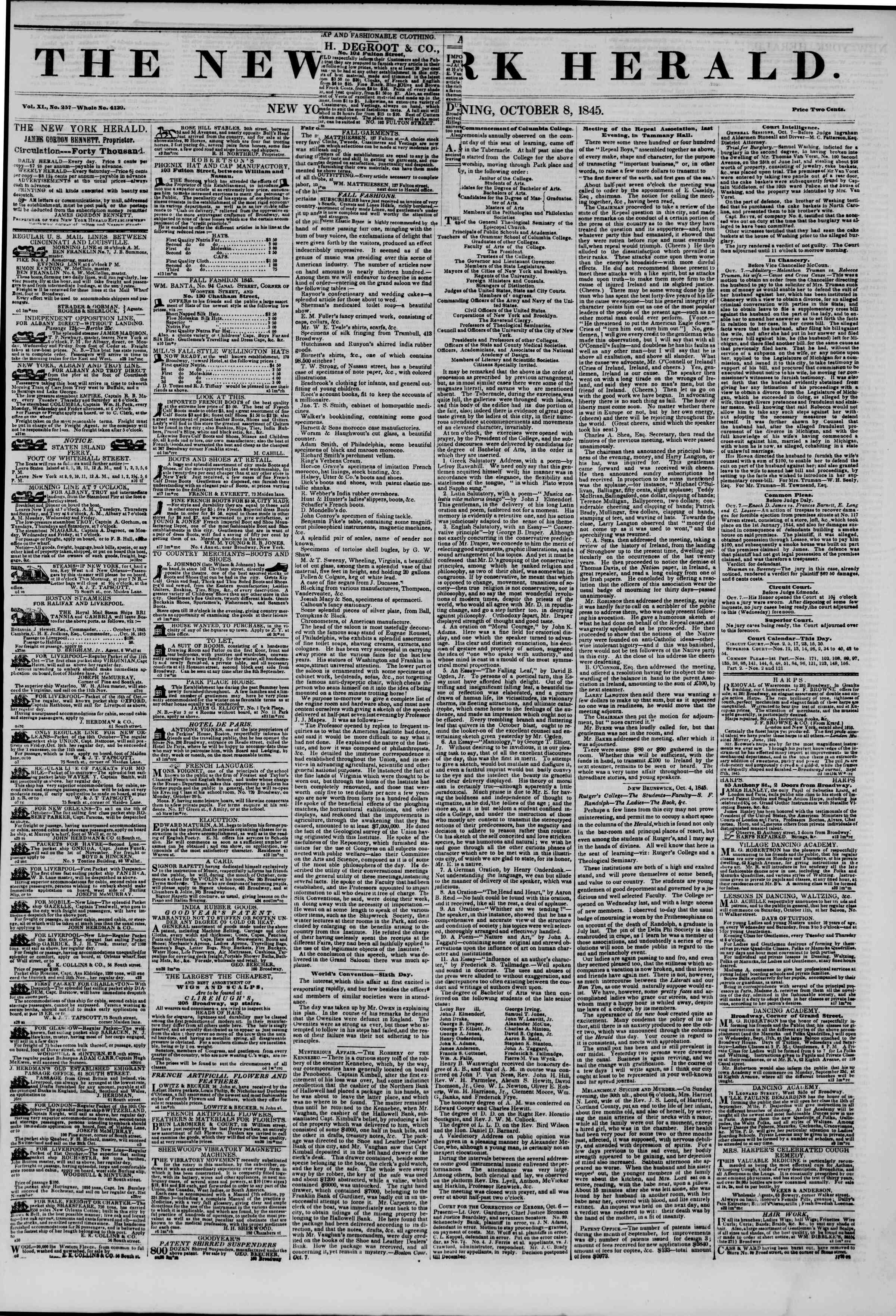 October 8, 1845 Tarihli The New York Herald Gazetesi Sayfa 1