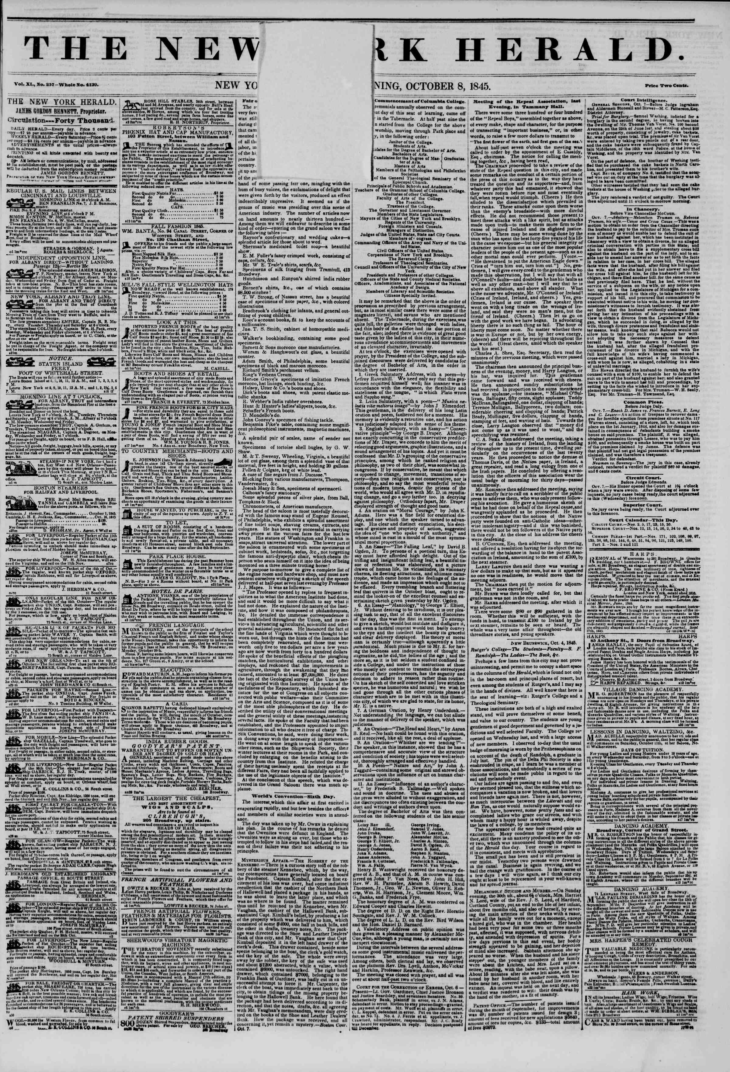 Newspaper of The New York Herald dated October 8, 1845 Page 2