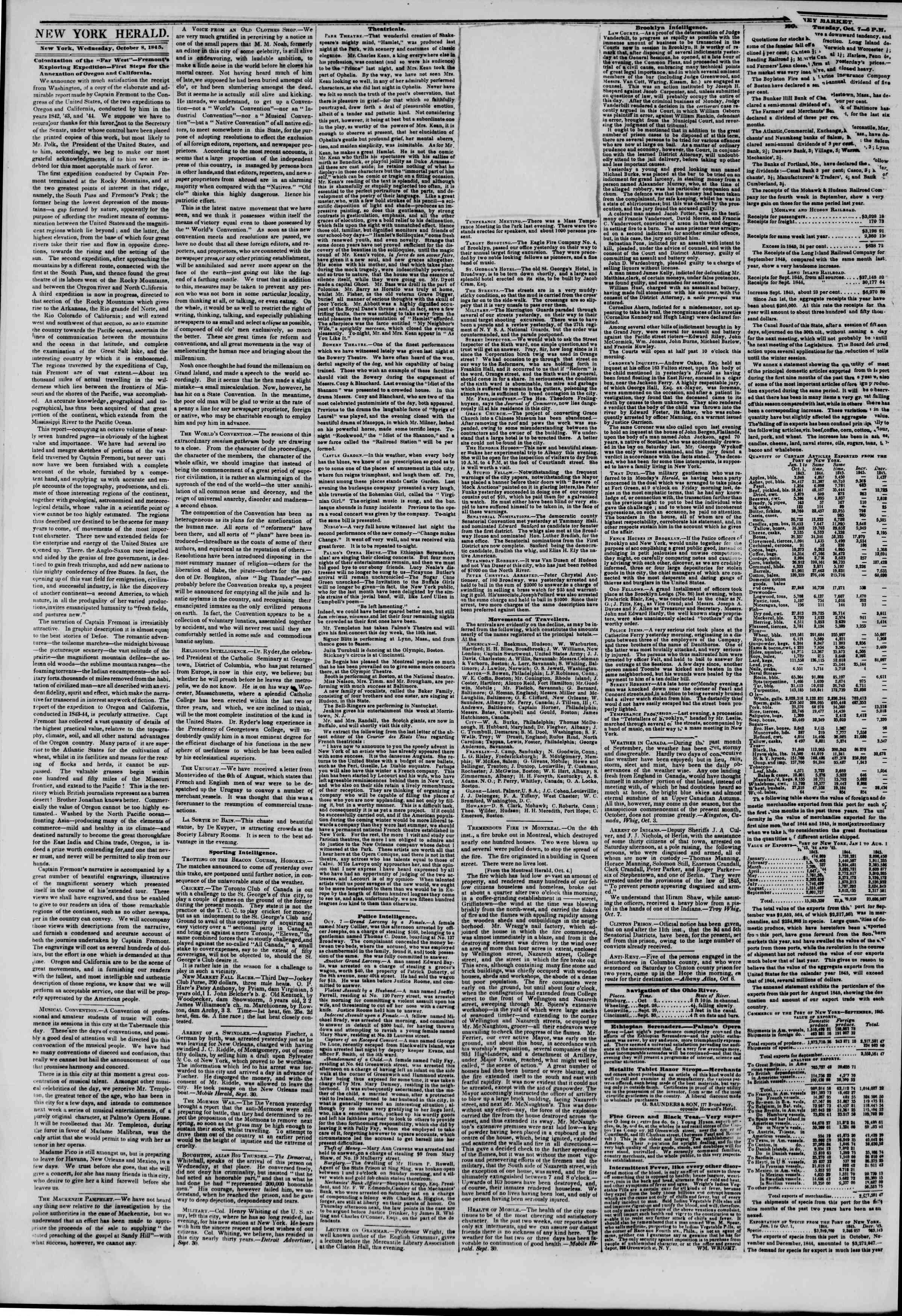 October 8, 1845 Tarihli The New York Herald Gazetesi Sayfa 3