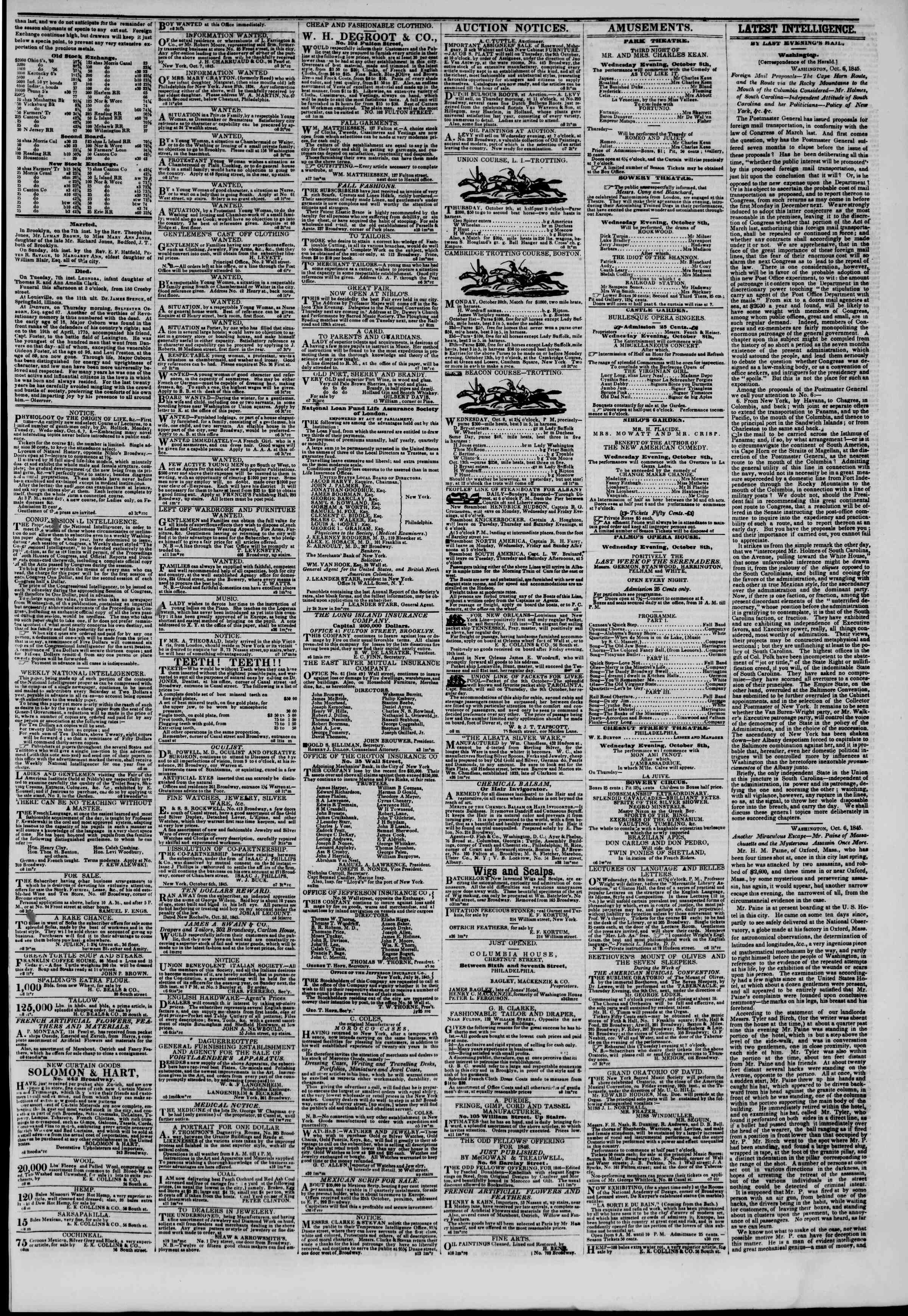 Newspaper of The New York Herald dated October 8, 1845 Page 4