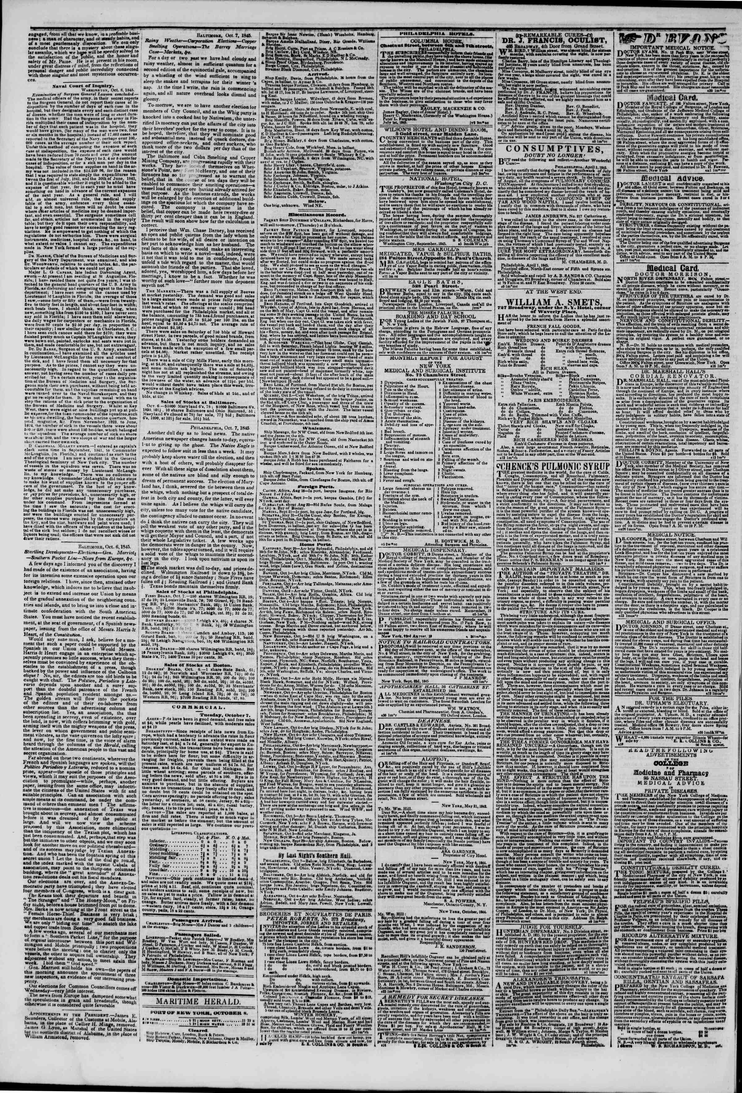Newspaper of The New York Herald dated October 8, 1845 Page 5