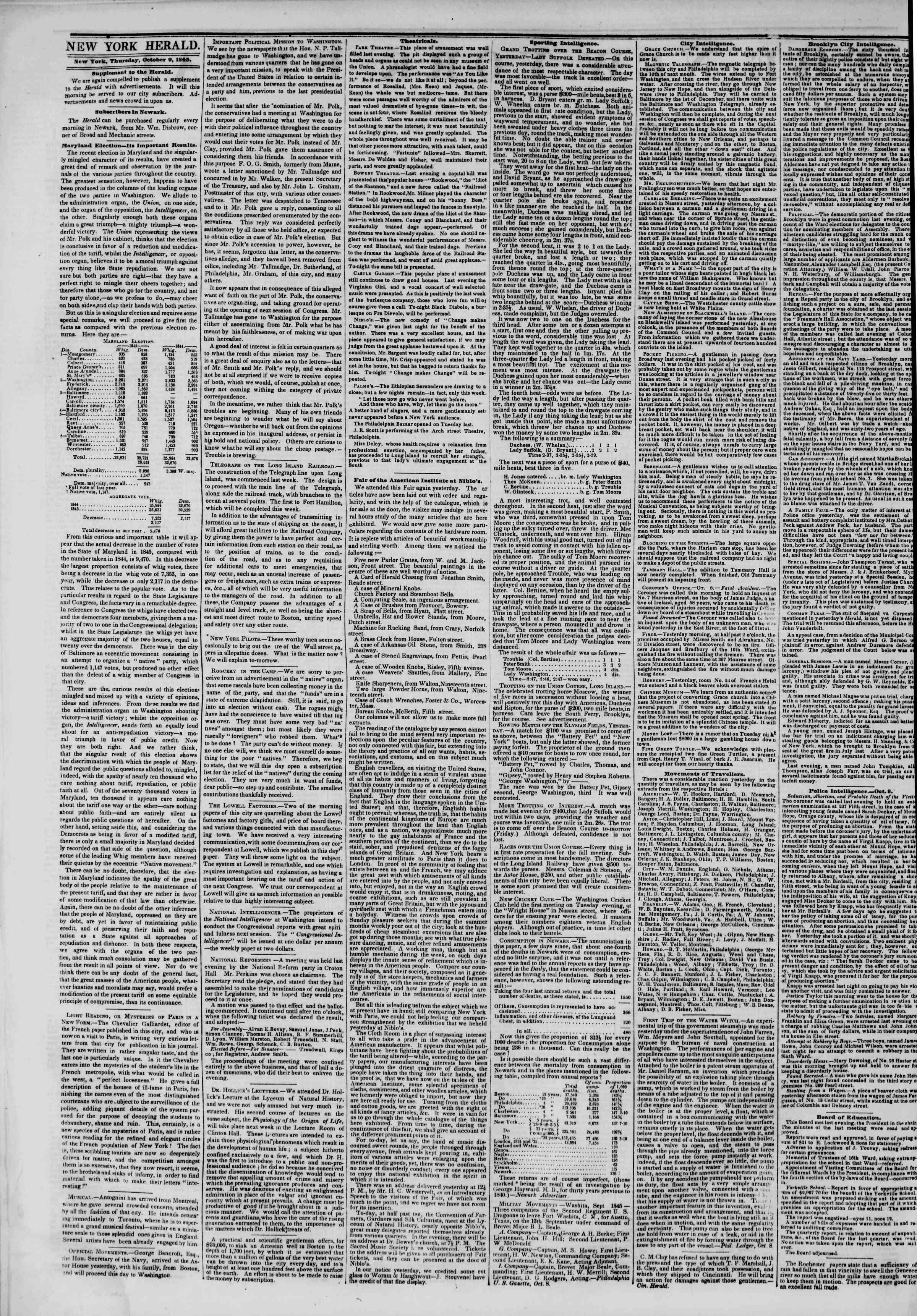 October 9, 1845 Tarihli The New York Herald Gazetesi Sayfa 2