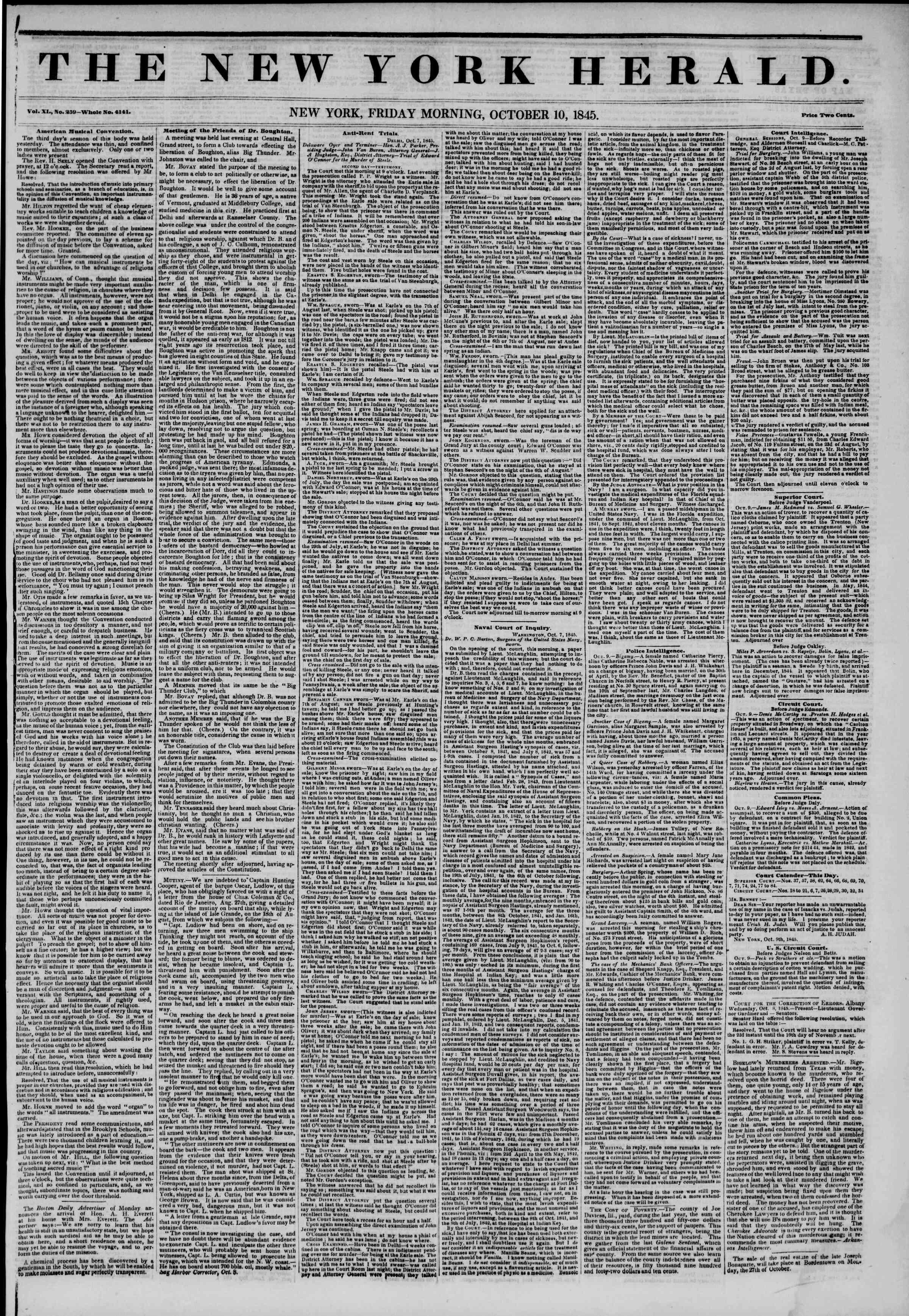 10 Ekim 1845 Tarihli The New York Herald Gazetesi Sayfa 1