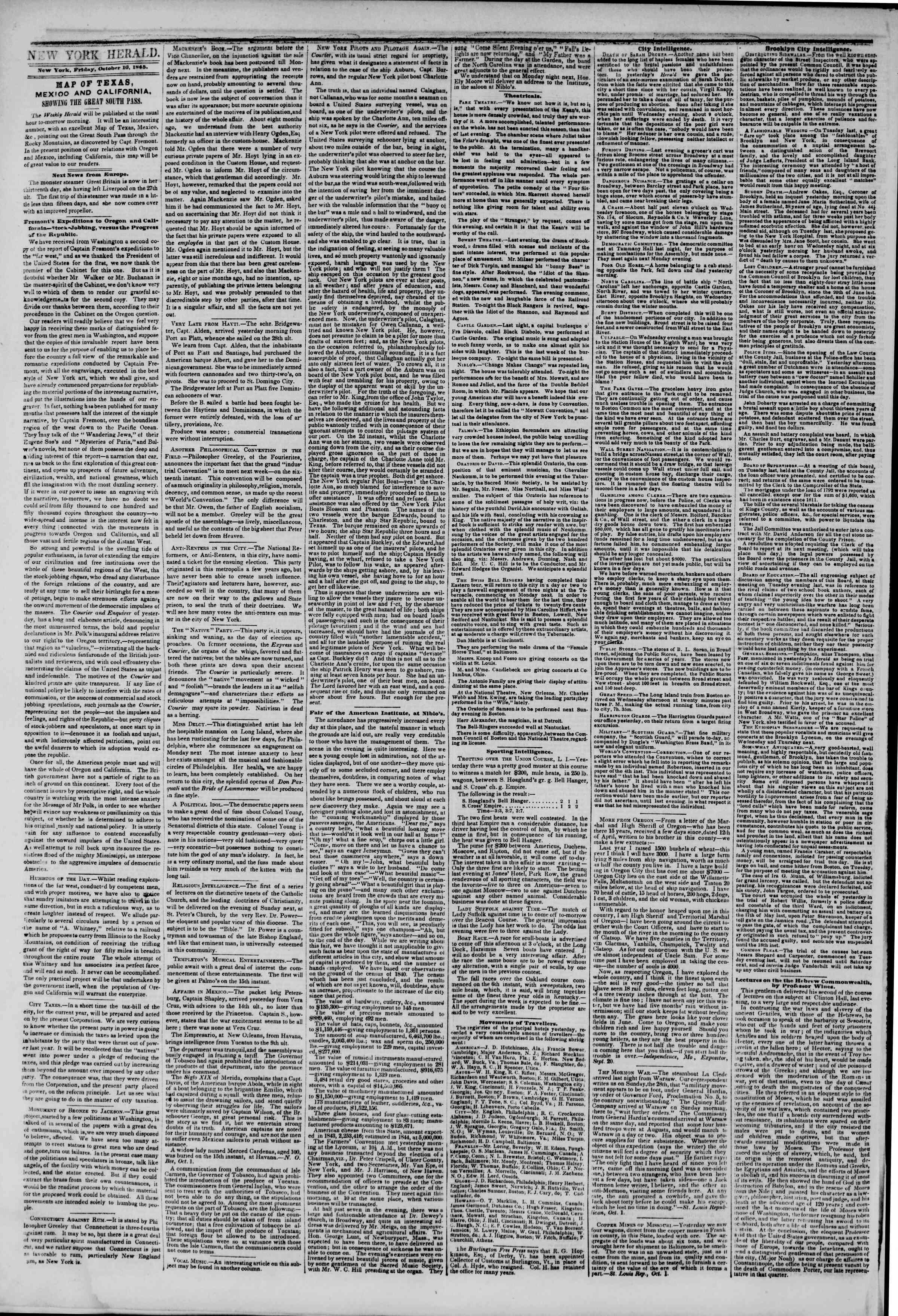 Newspaper of The New York Herald dated October 10, 1845 Page 2