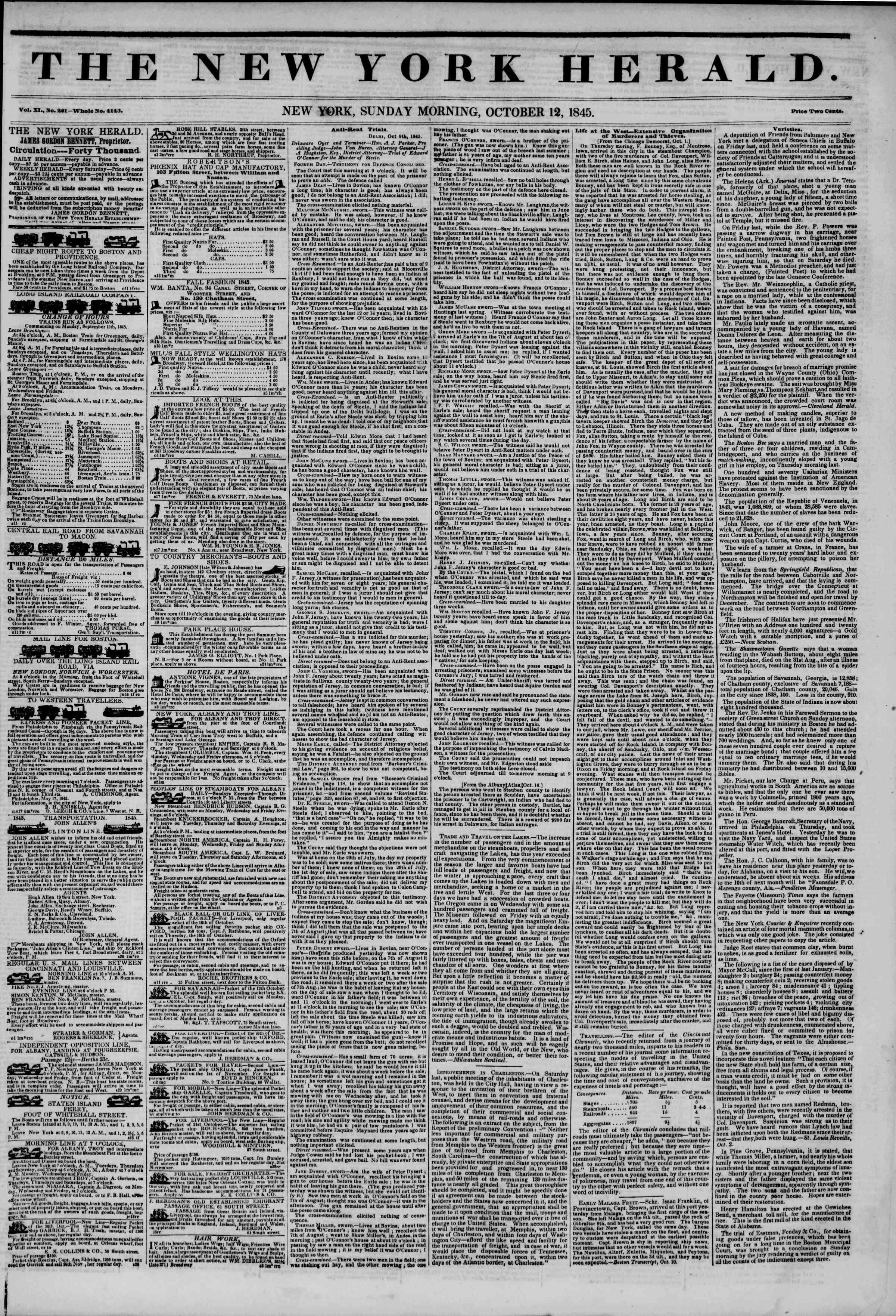 October 12, 1845 Tarihli The New York Herald Gazetesi Sayfa 1