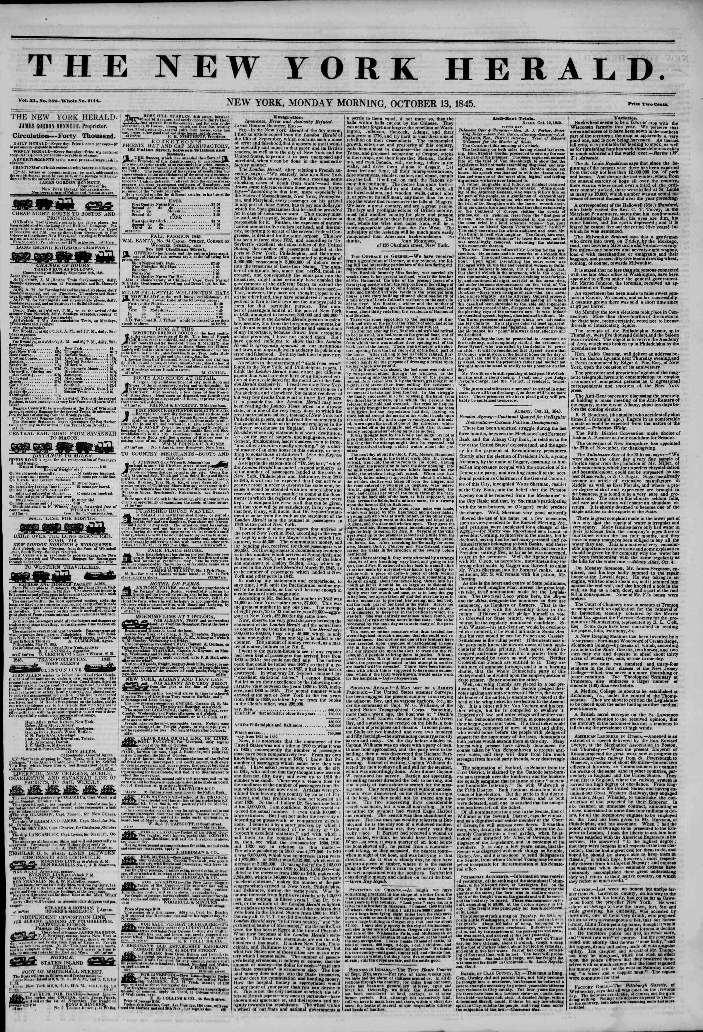 Newspaper of The New York Herald dated October 13, 1845 Page 1