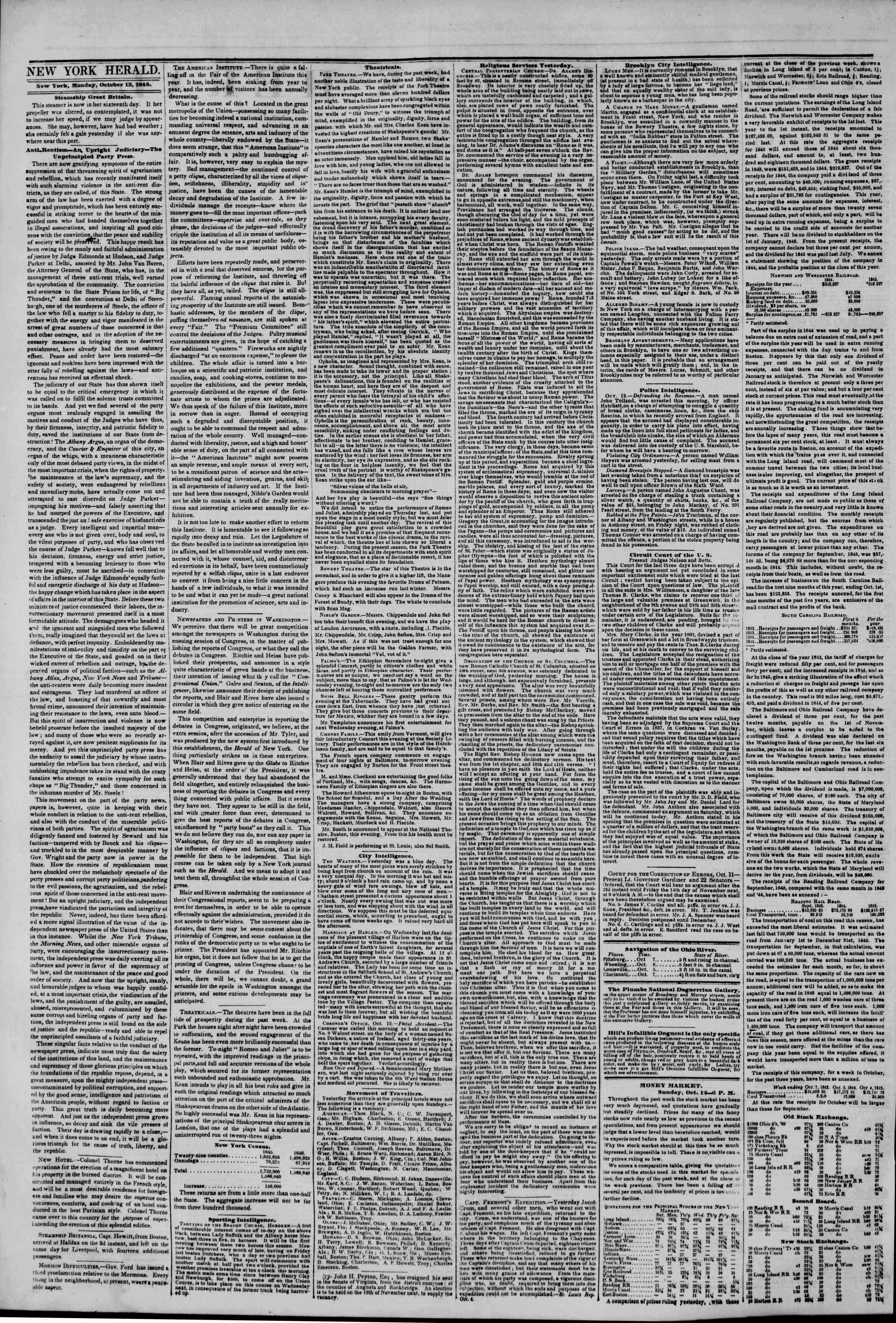 Newspaper of The New York Herald dated October 13, 1845 Page 2