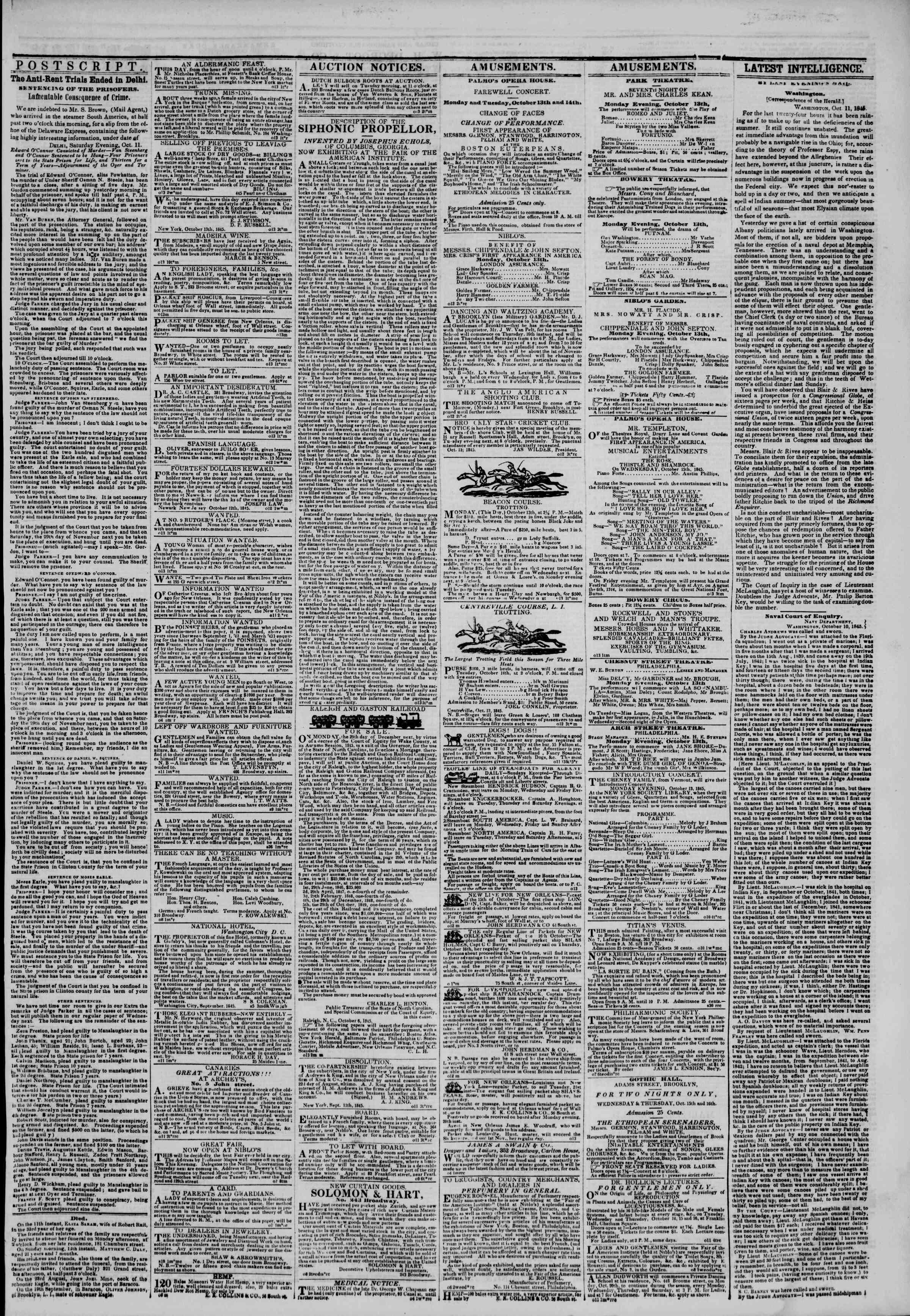 October 13, 1845 Tarihli The New York Herald Gazetesi Sayfa 3