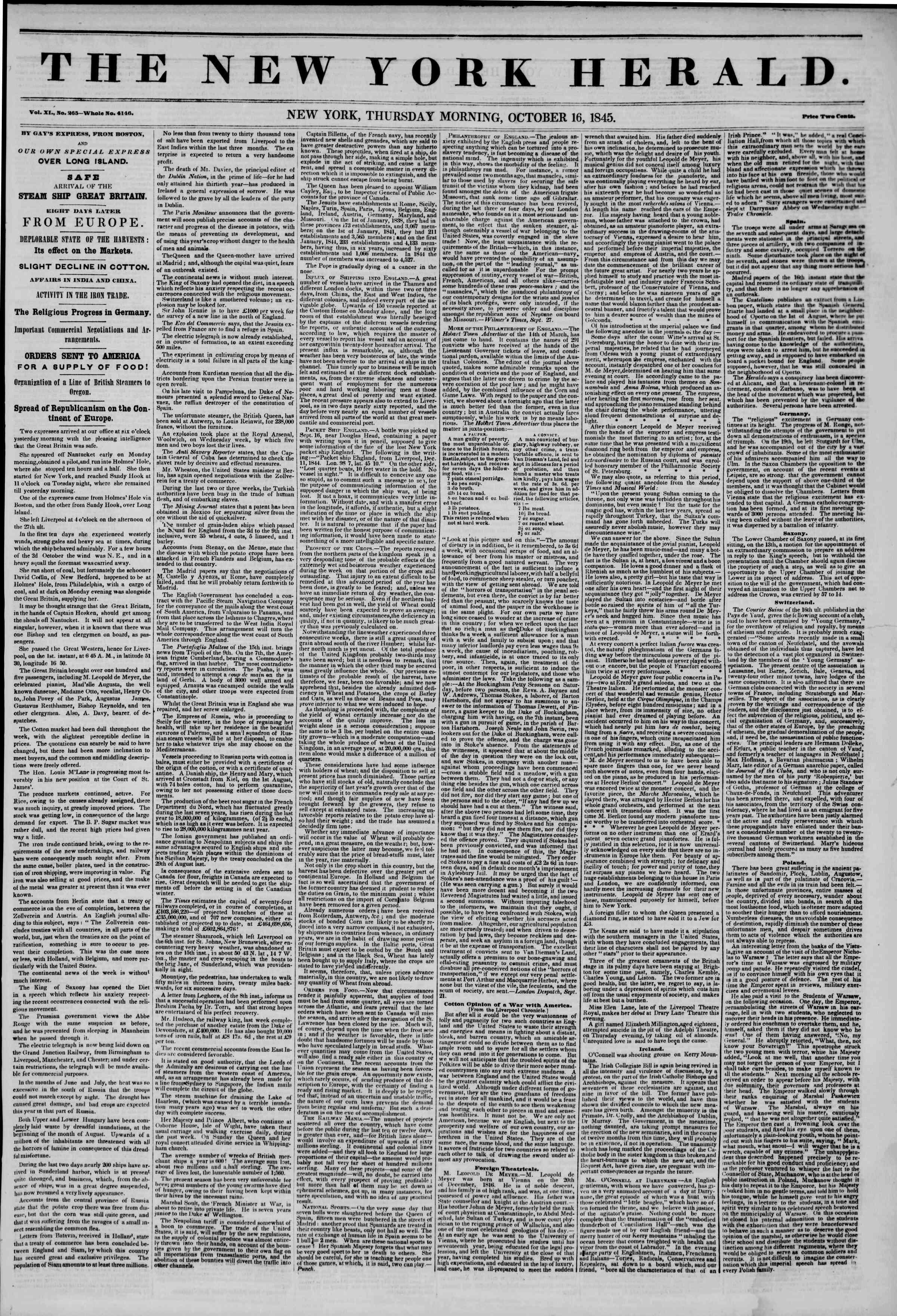 October 16, 1845 Tarihli The New York Herald Gazetesi Sayfa 1