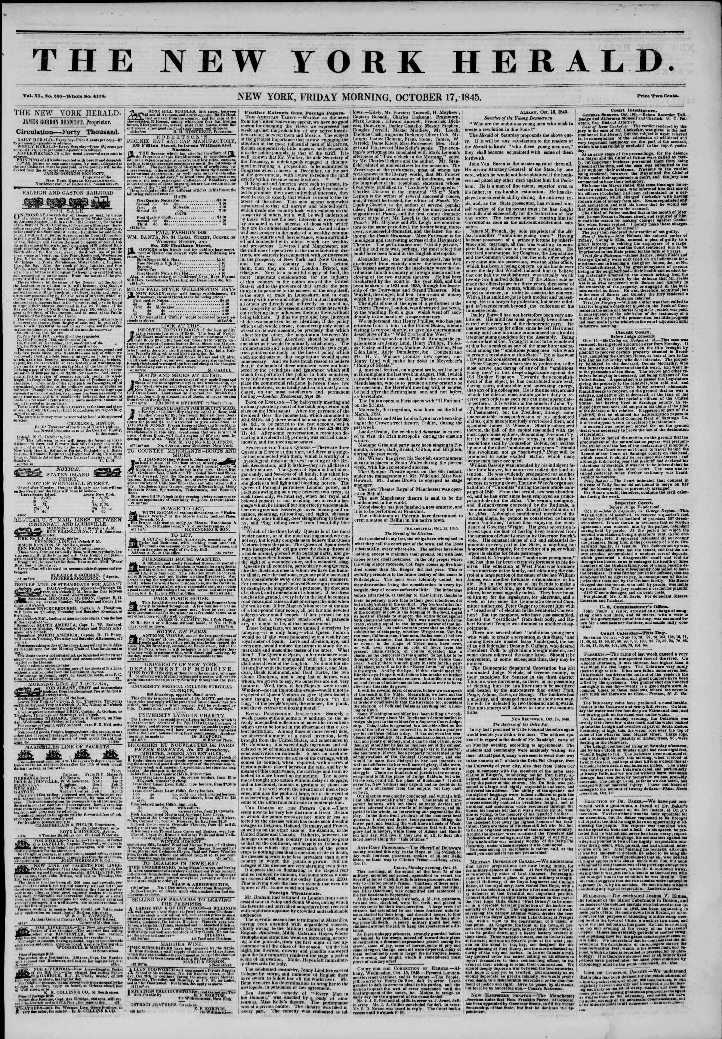 Newspaper of The New York Herald dated October 17, 1845 Page 1