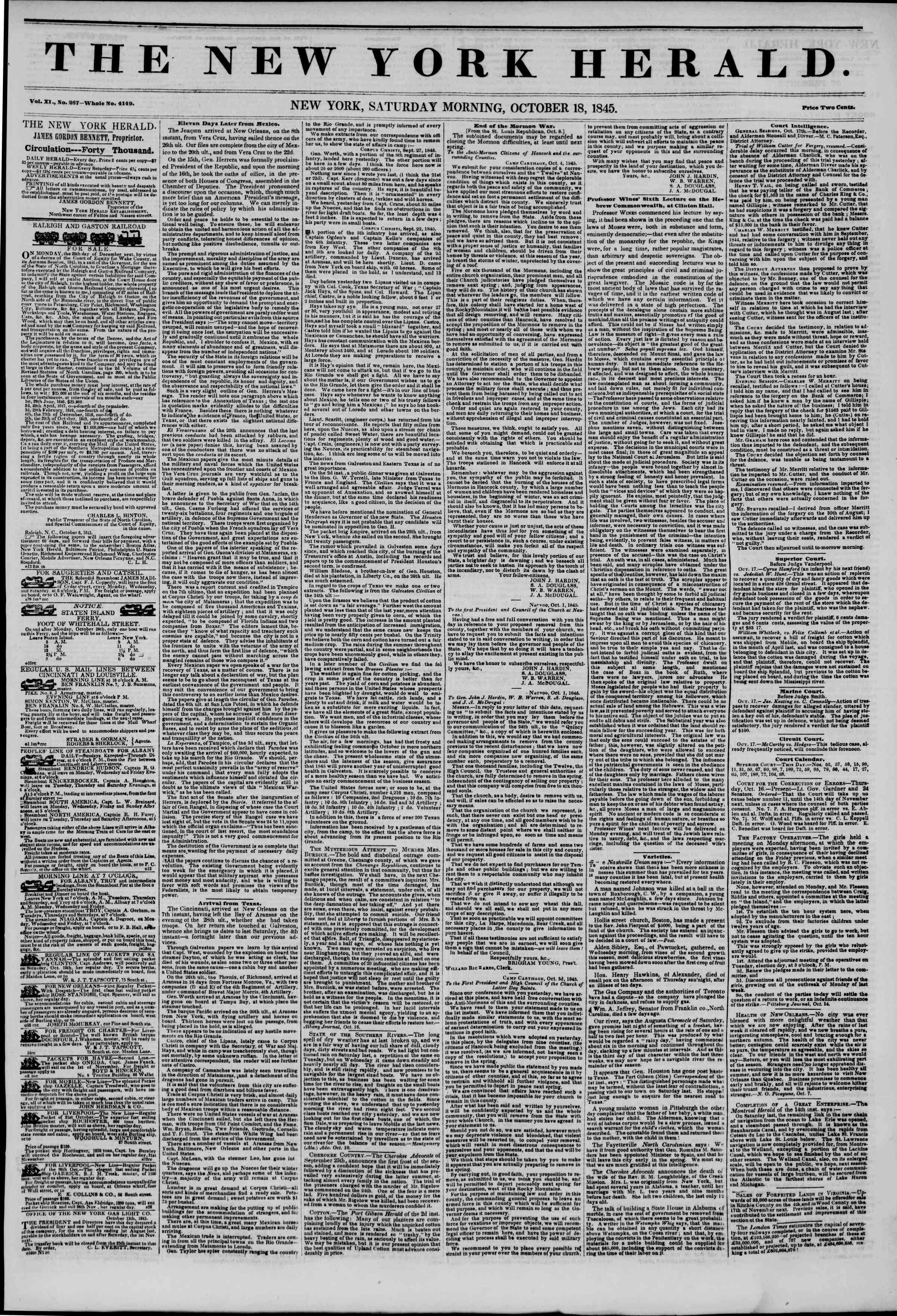 Newspaper of The New York Herald dated October 18, 1845 Page 1