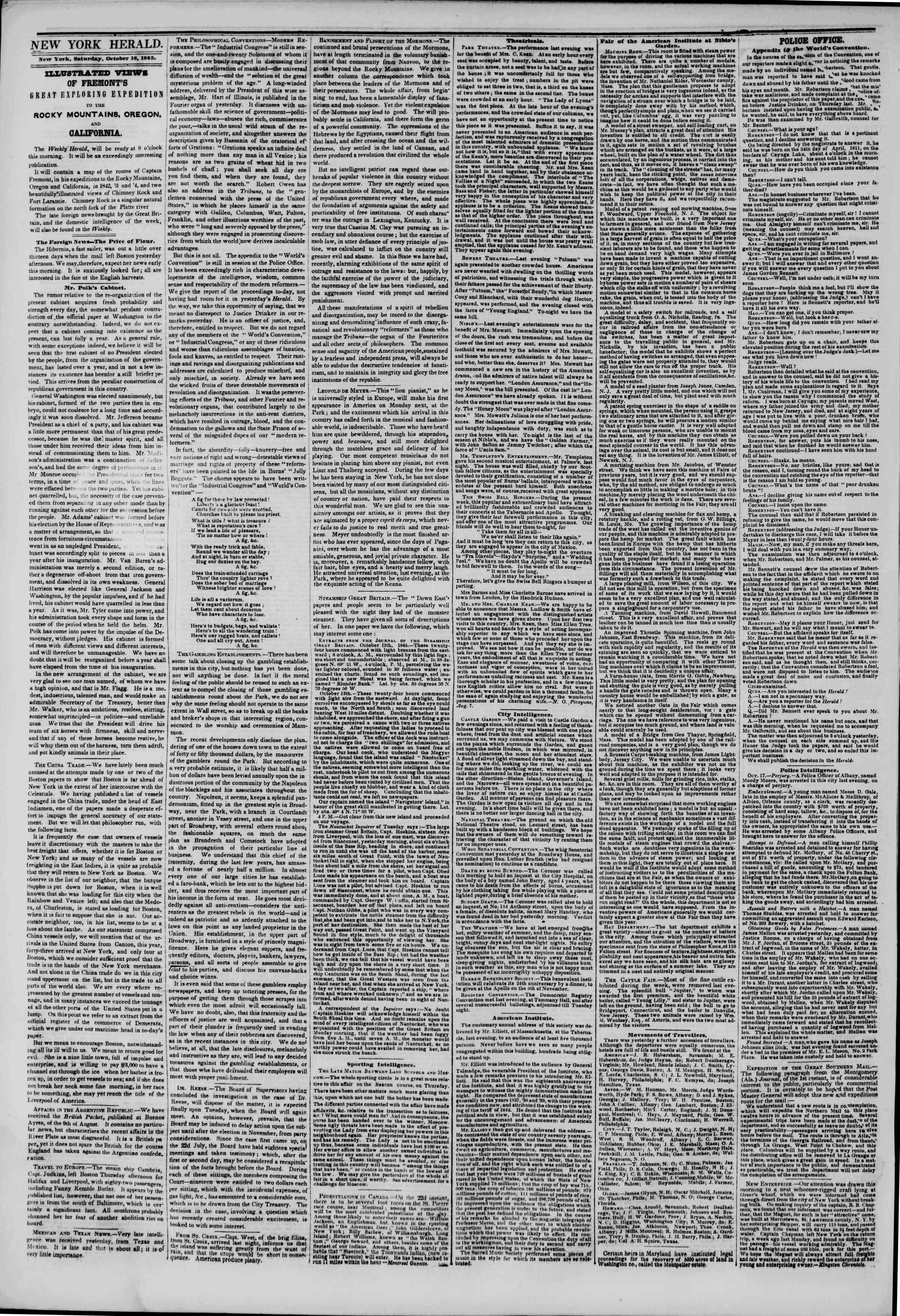 October 18, 1845 Tarihli The New York Herald Gazetesi Sayfa 2