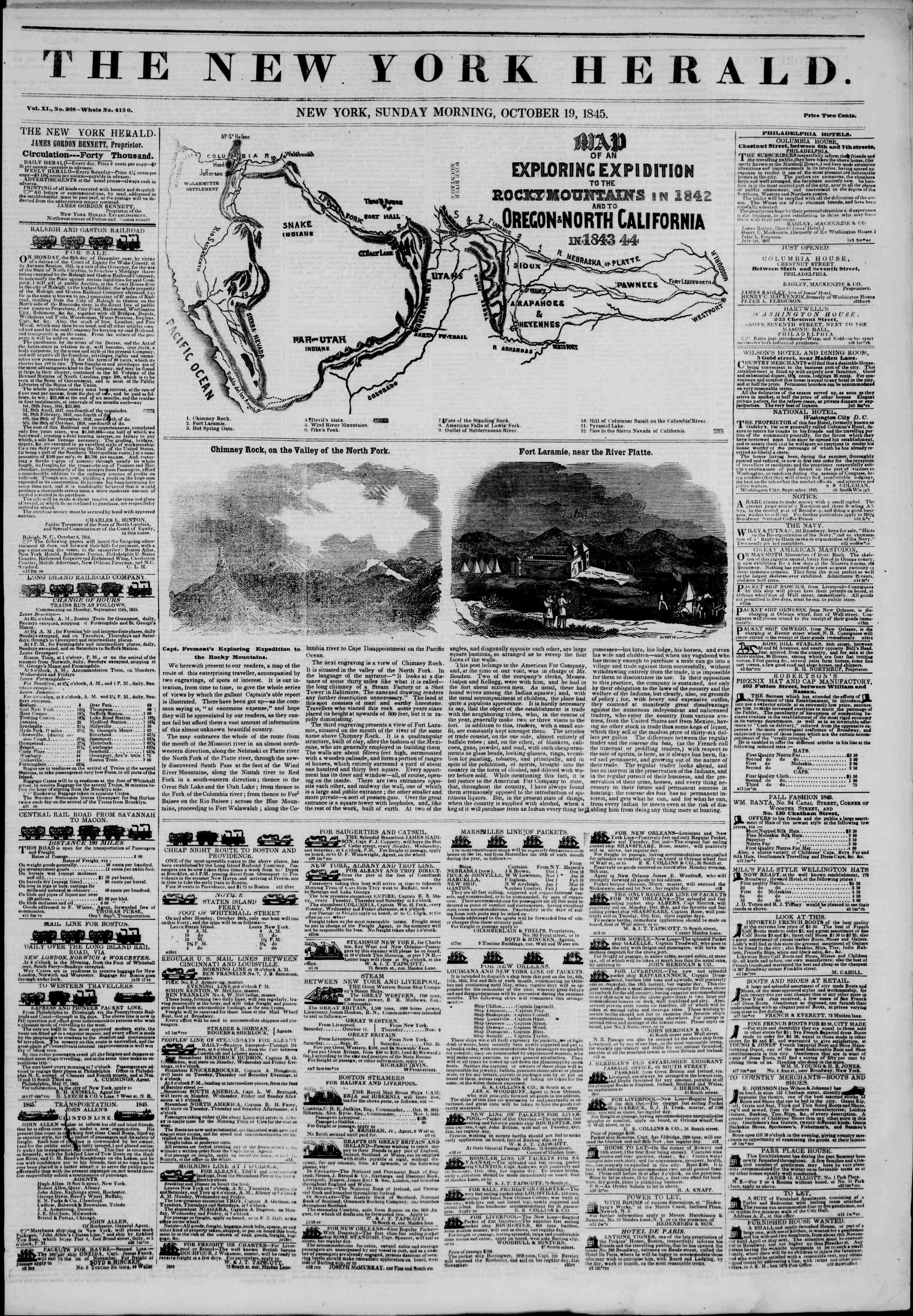 Newspaper of The New York Herald dated October 19, 1845 Page 1