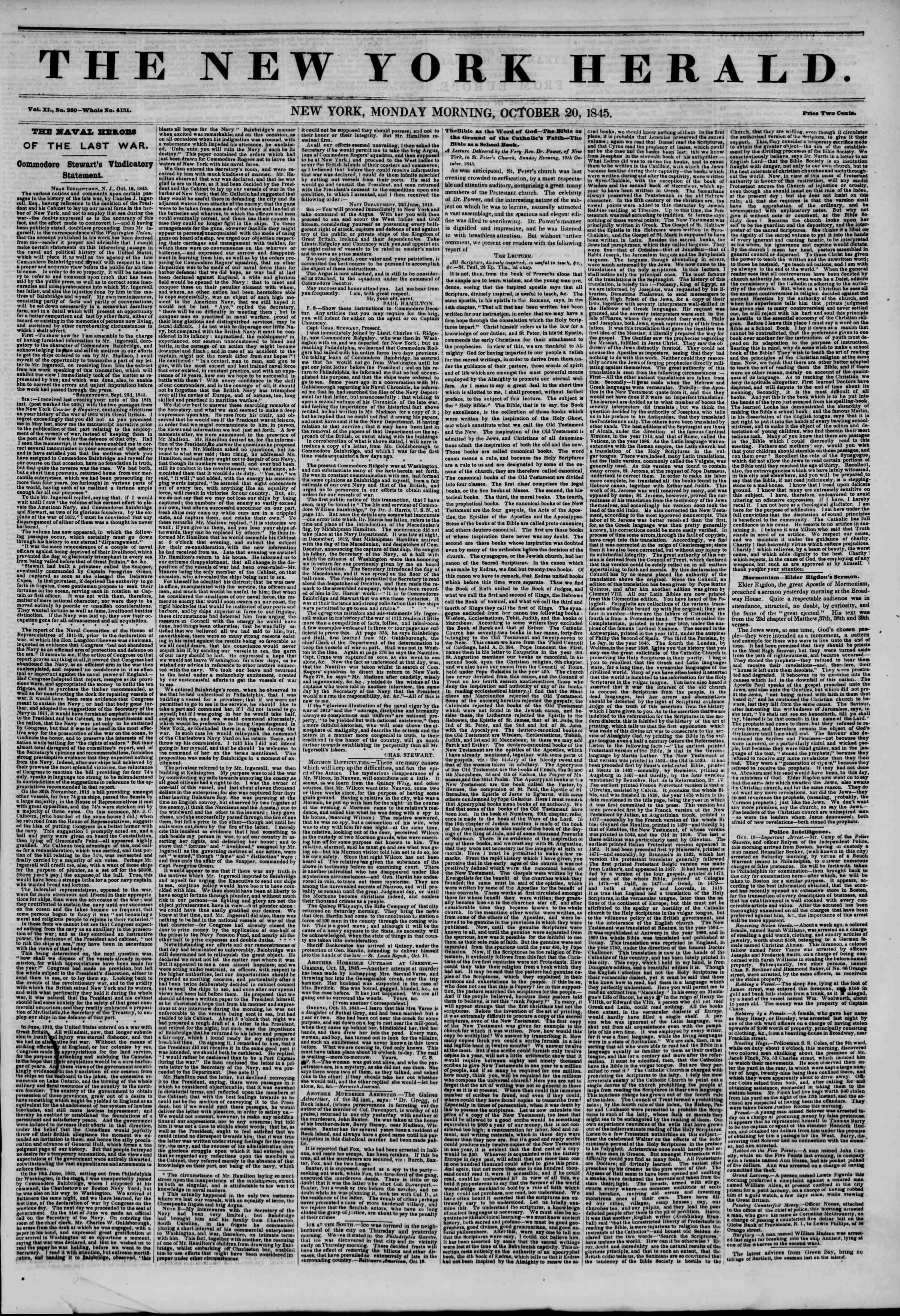 October 20, 1845 Tarihli The New York Herald Gazetesi Sayfa 1