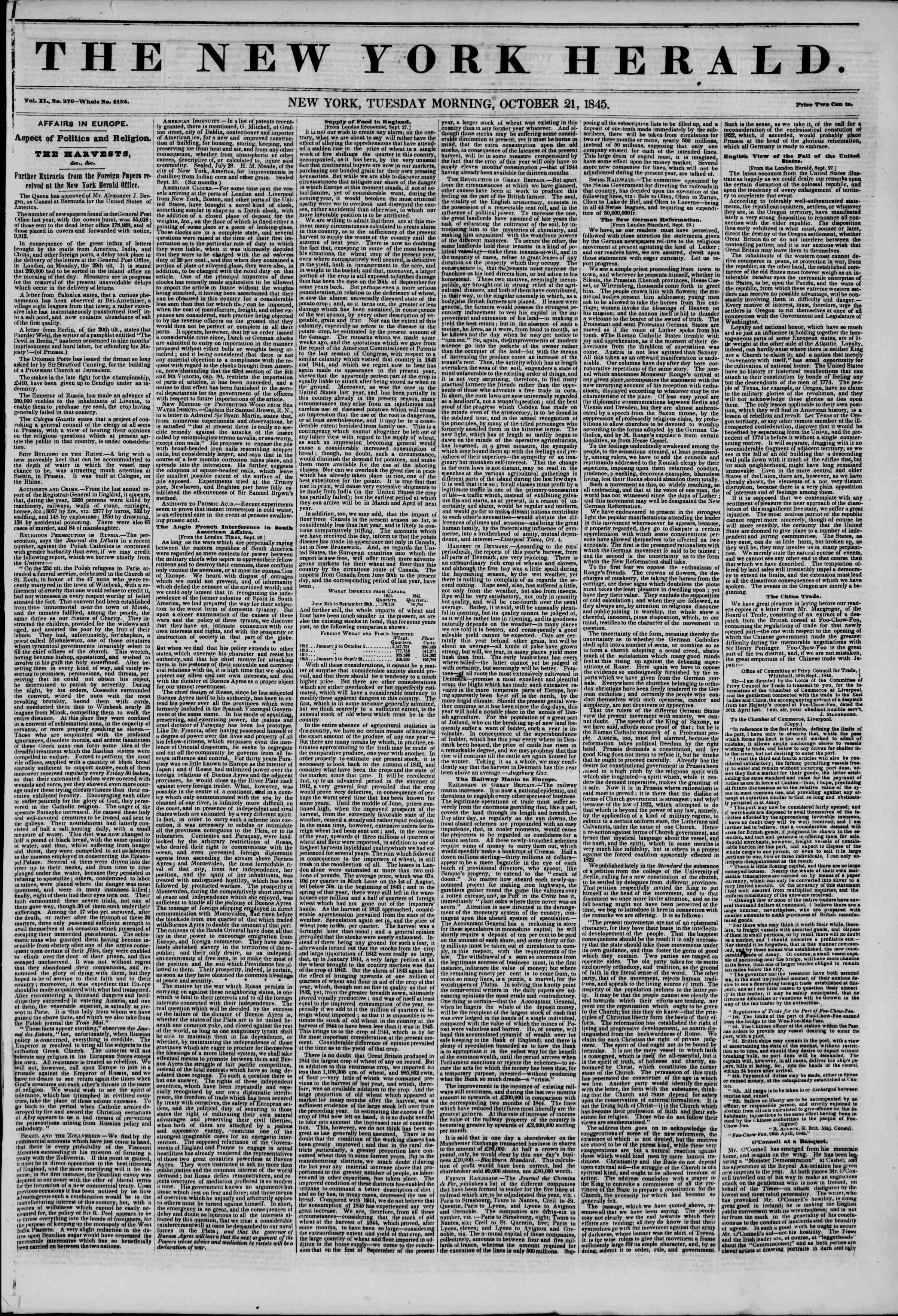 October 21, 1845 Tarihli The New York Herald Gazetesi Sayfa 1