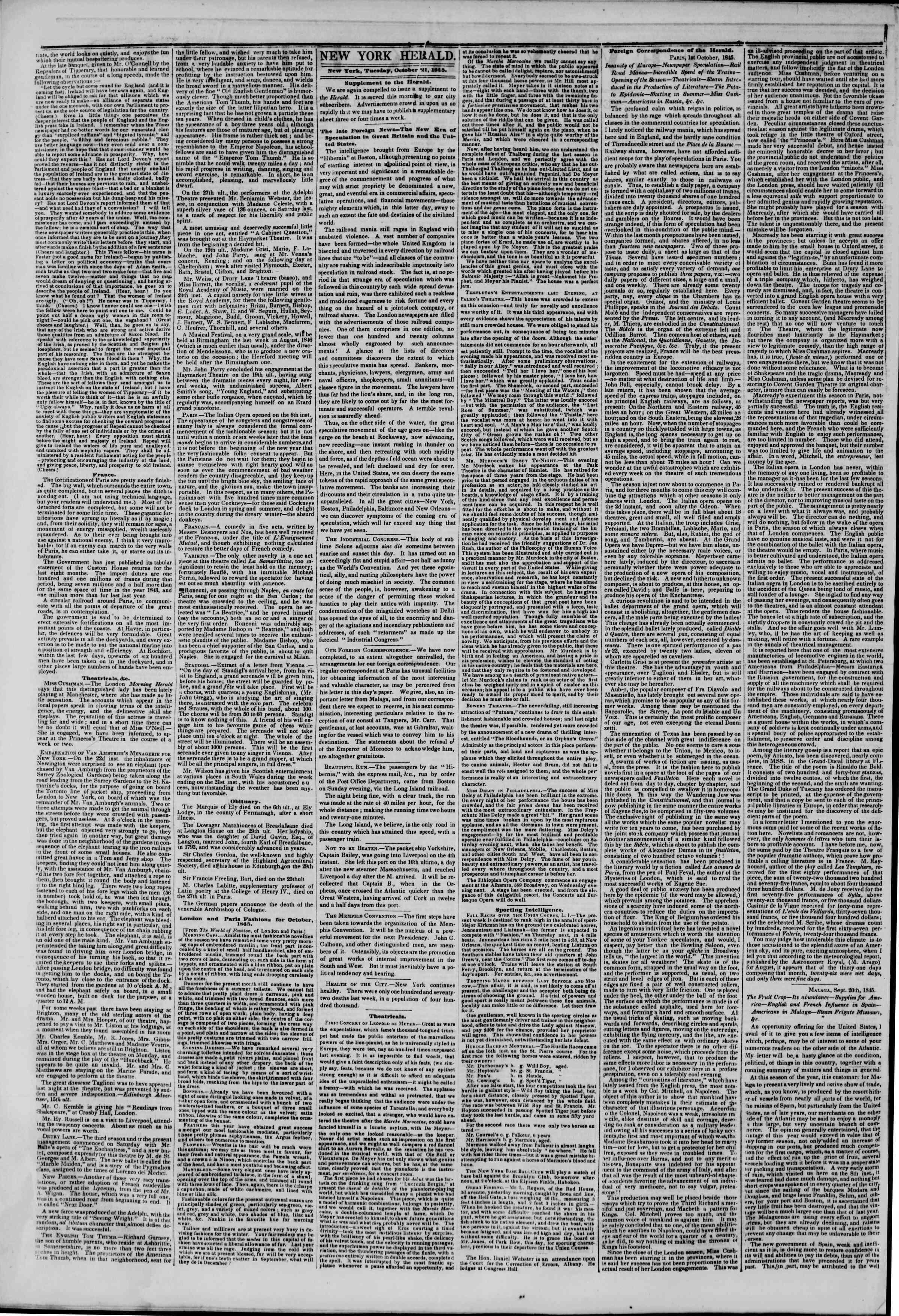 October 21, 1845 Tarihli The New York Herald Gazetesi Sayfa 2