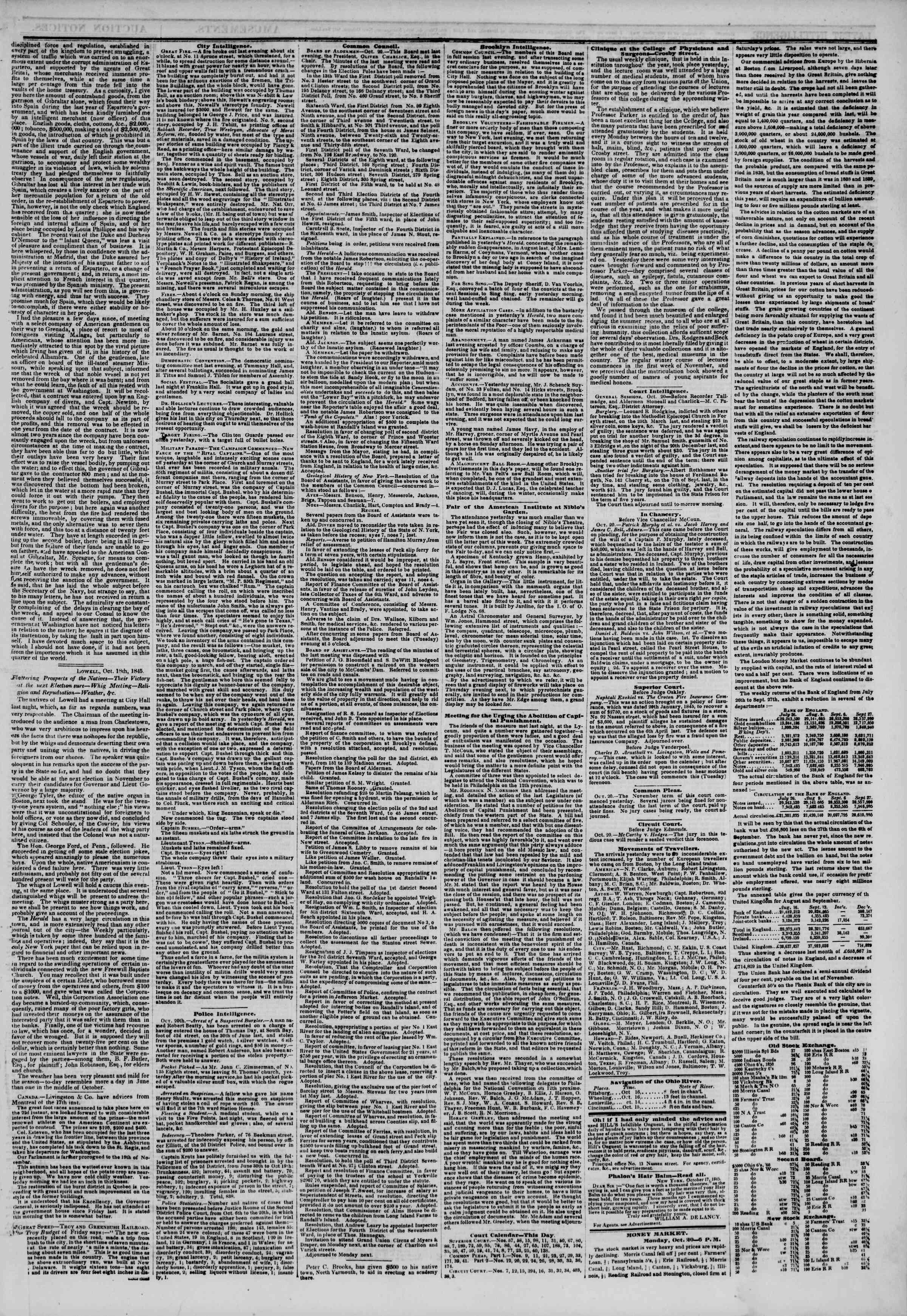 October 21, 1845 Tarihli The New York Herald Gazetesi Sayfa 3