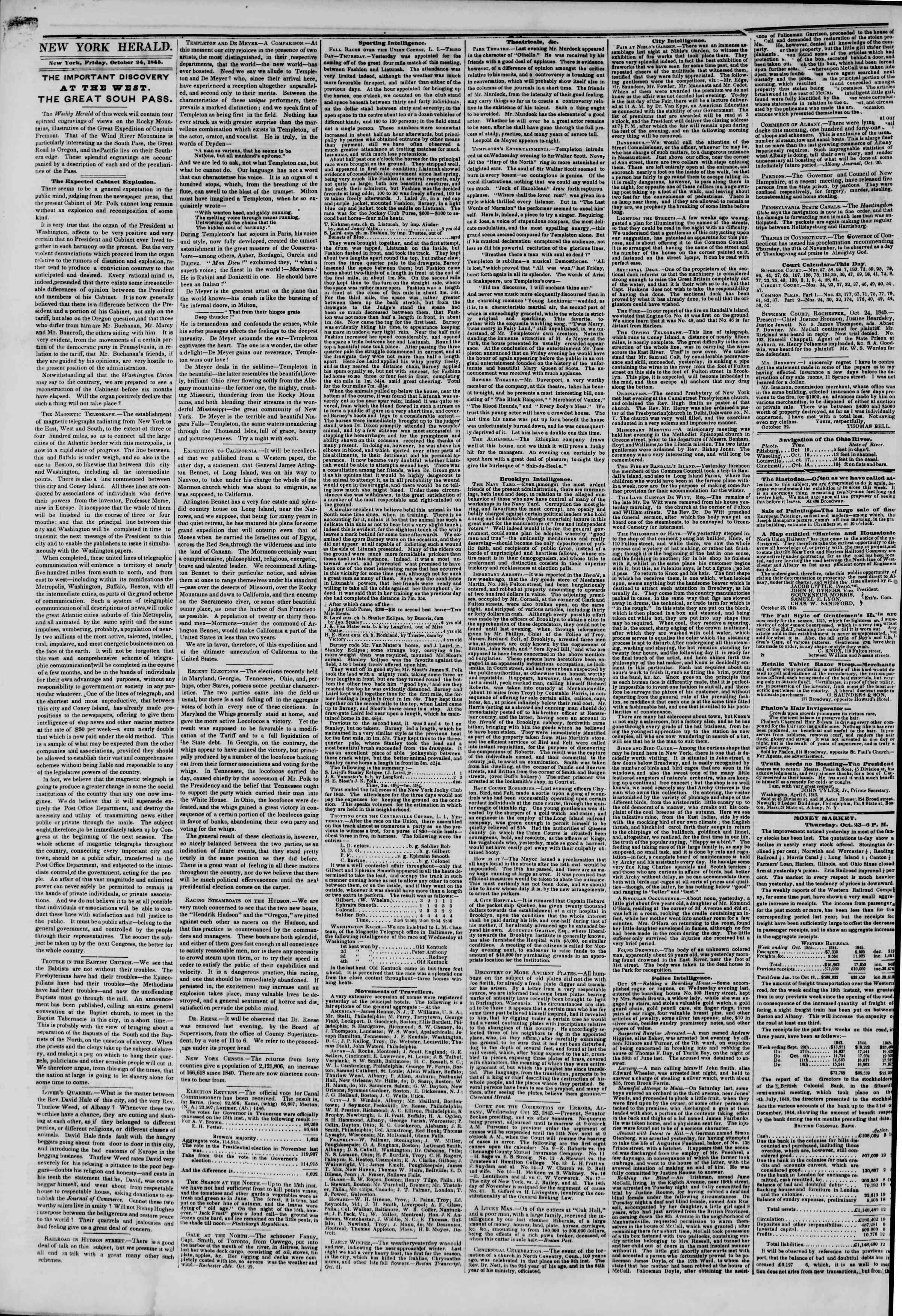 24 Ekim 1845 tarihli The New York Herald Gazetesi Sayfa 2