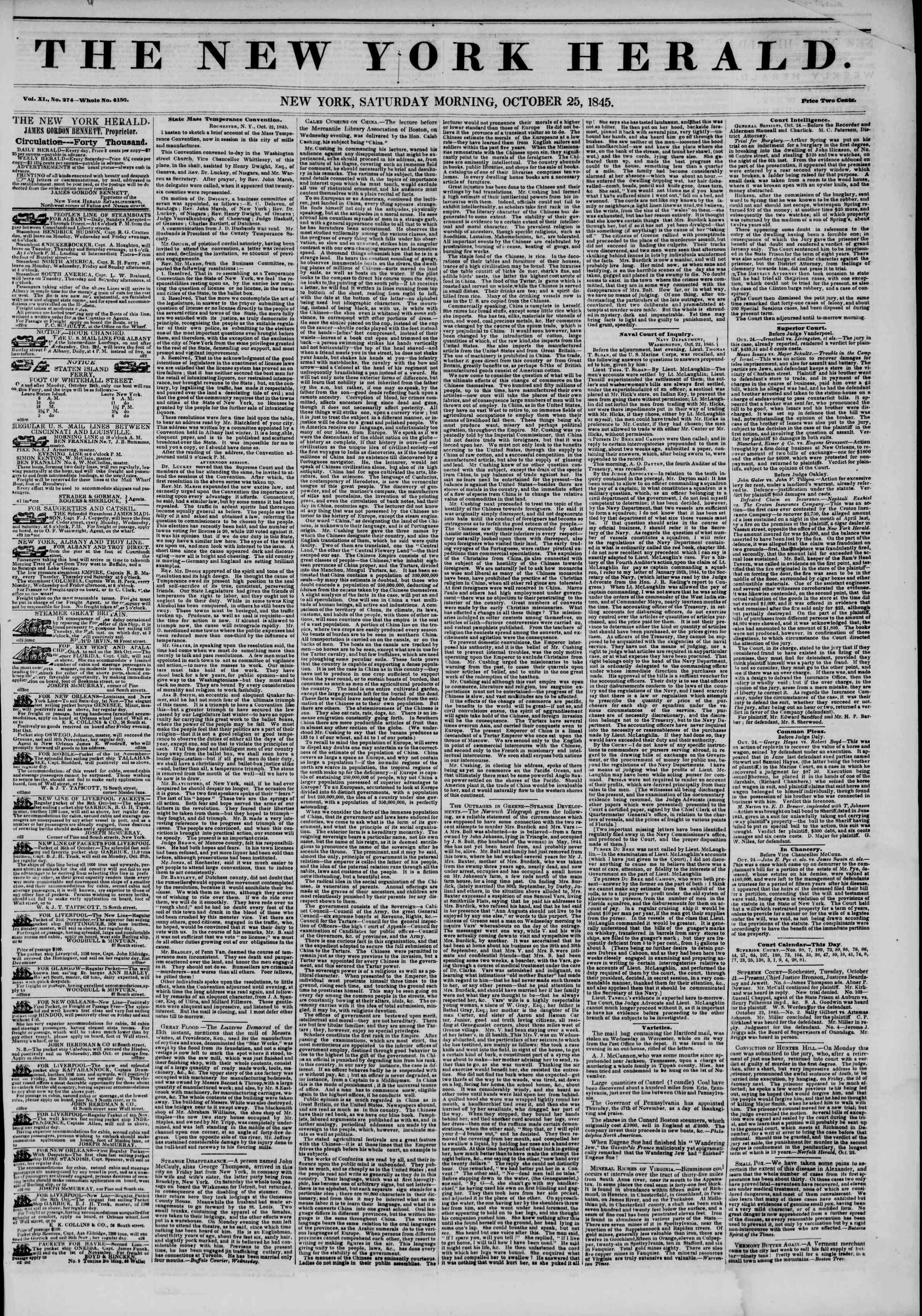 October 25, 1845 Tarihli The New York Herald Gazetesi Sayfa 1