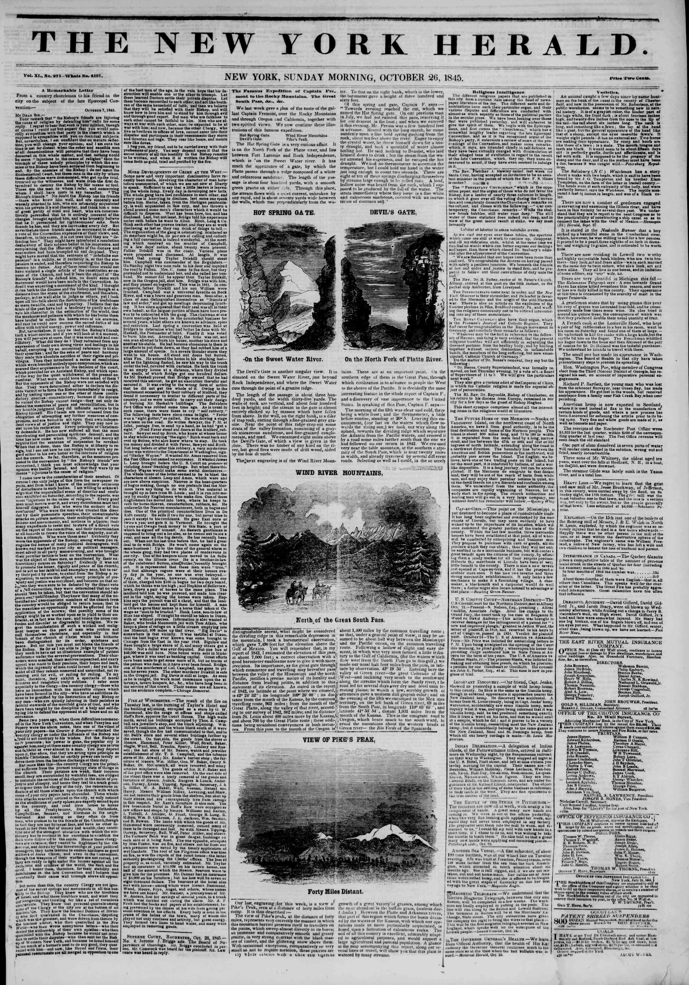 October 26, 1845 Tarihli The New York Herald Gazetesi Sayfa 1