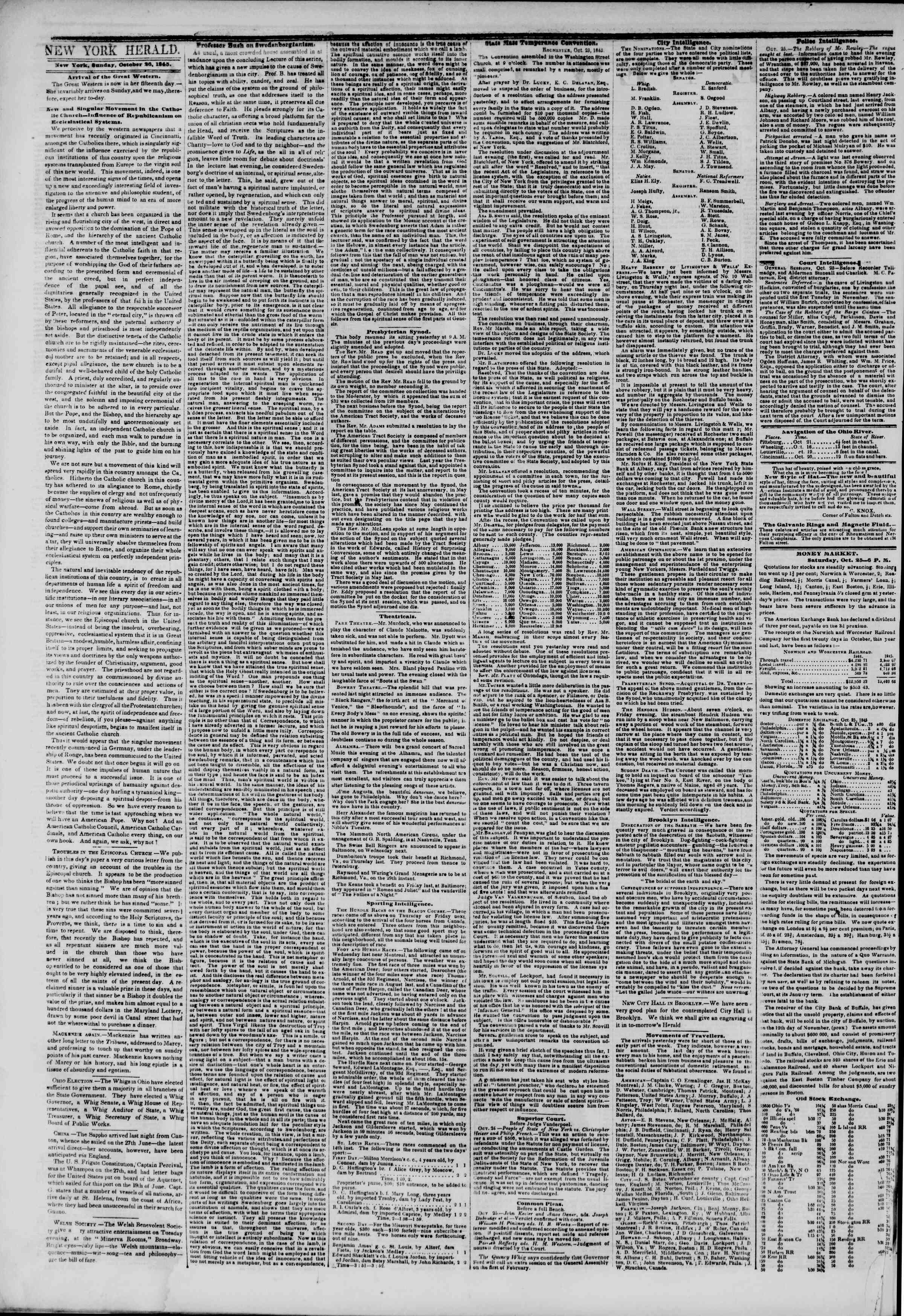 Newspaper of The New York Herald dated 26 Ekim 1845 Page 2