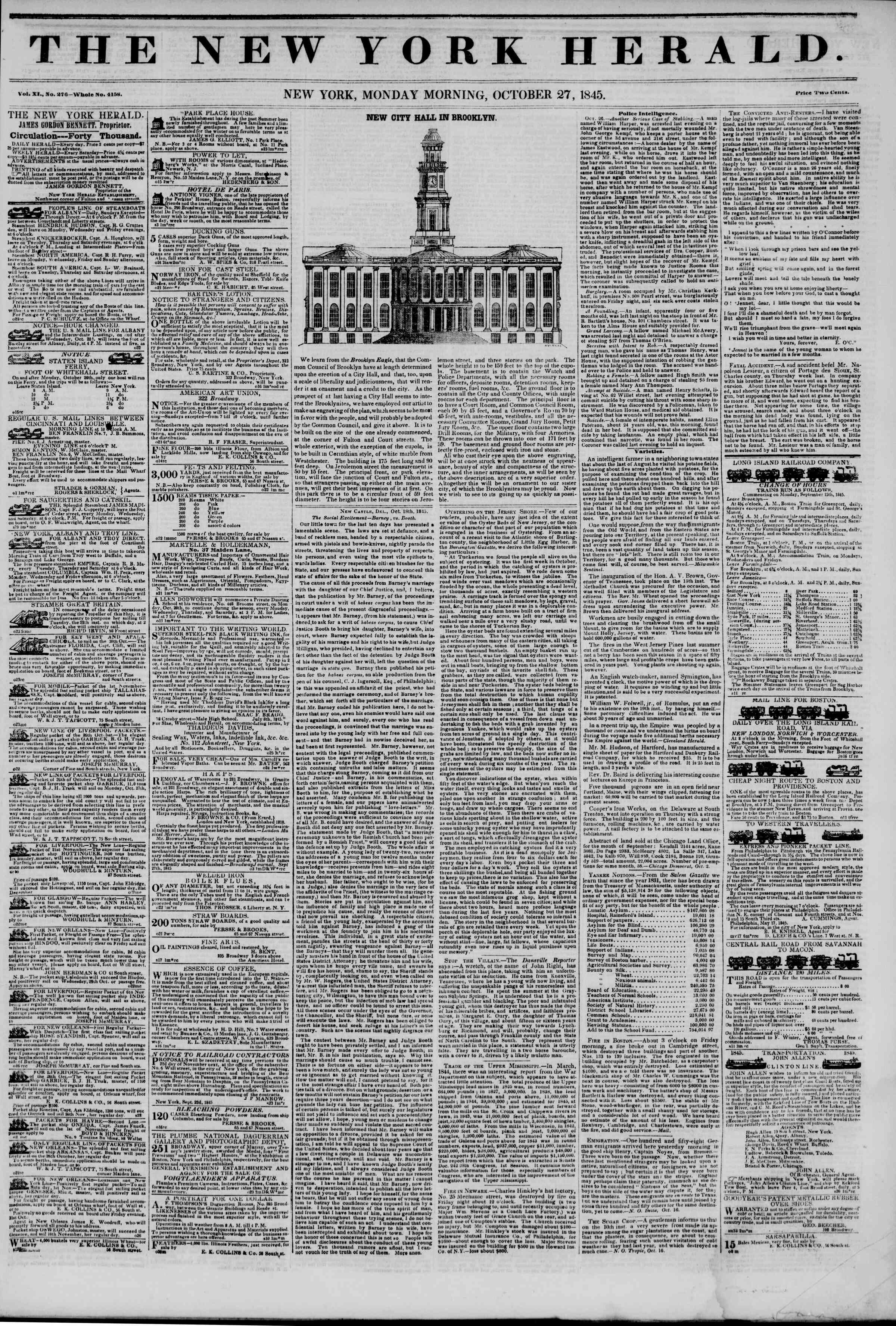 October 27, 1845 Tarihli The New York Herald Gazetesi Sayfa 1