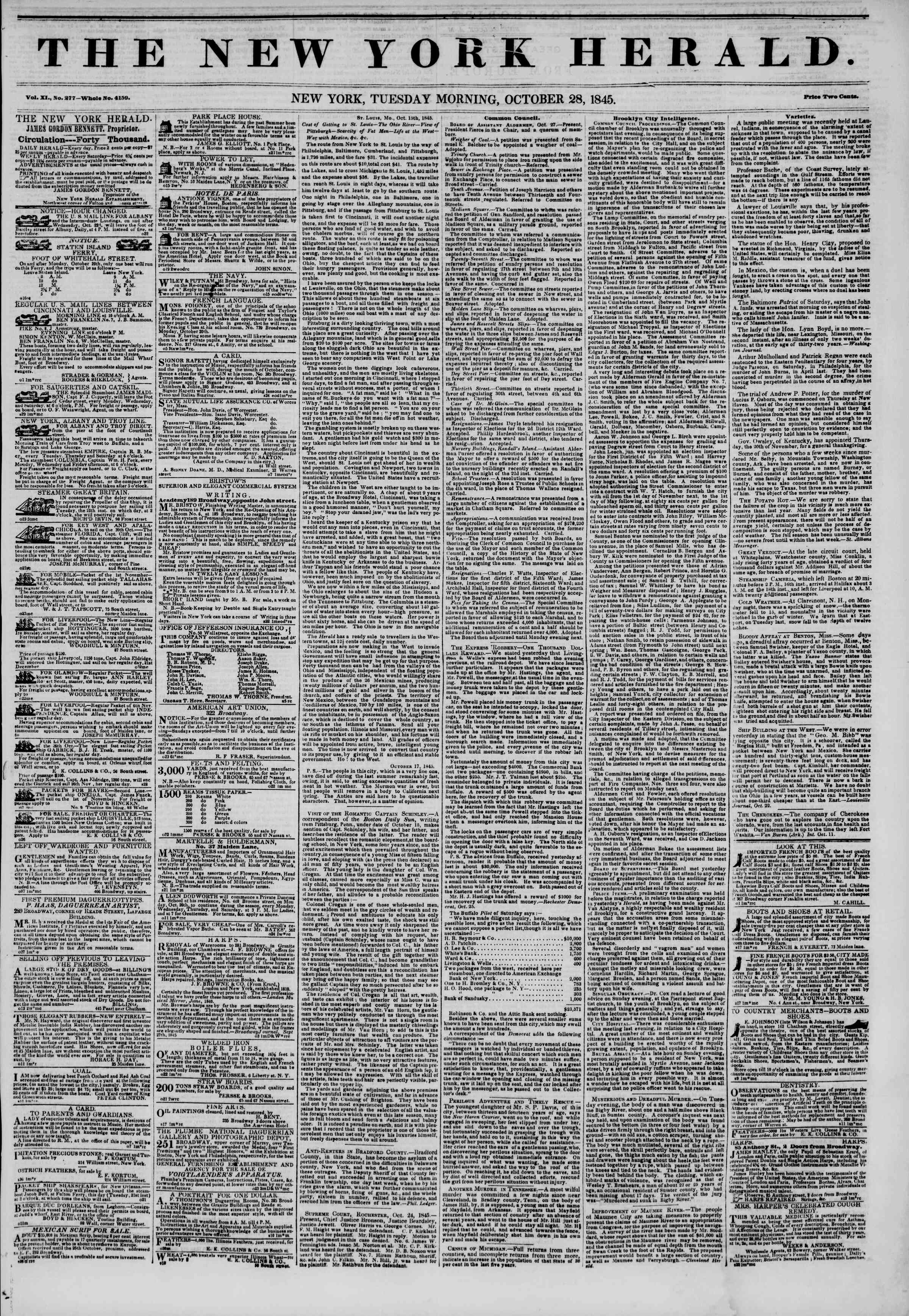 Newspaper of The New York Herald dated October 28, 1845 Page 1