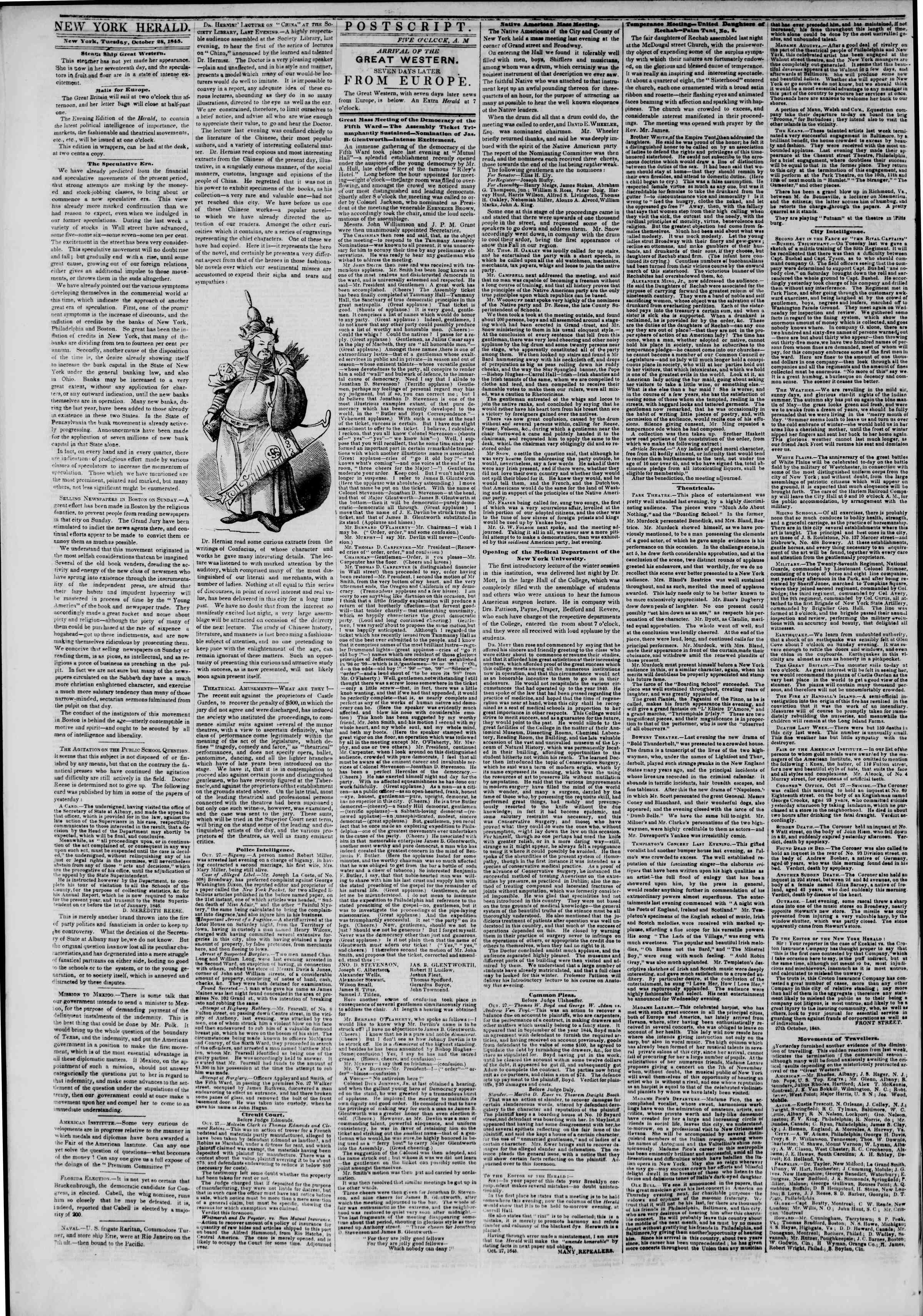 Newspaper of The New York Herald dated October 28, 1845 Page 2