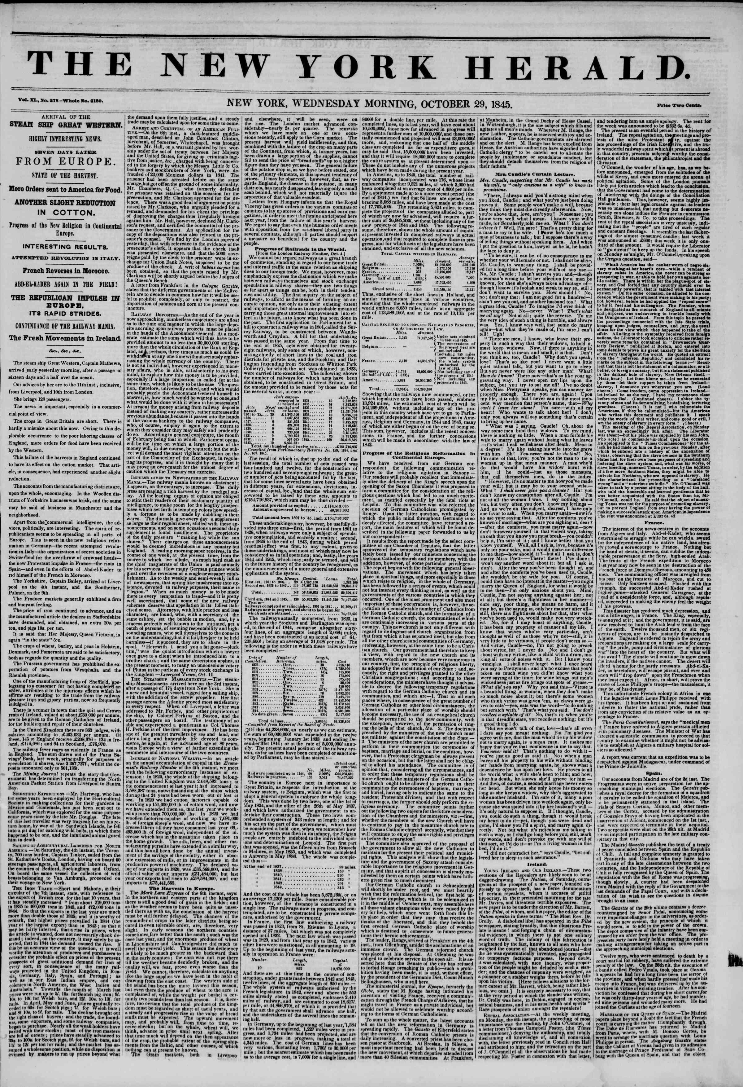 October 29, 1845 Tarihli The New York Herald Gazetesi Sayfa 1