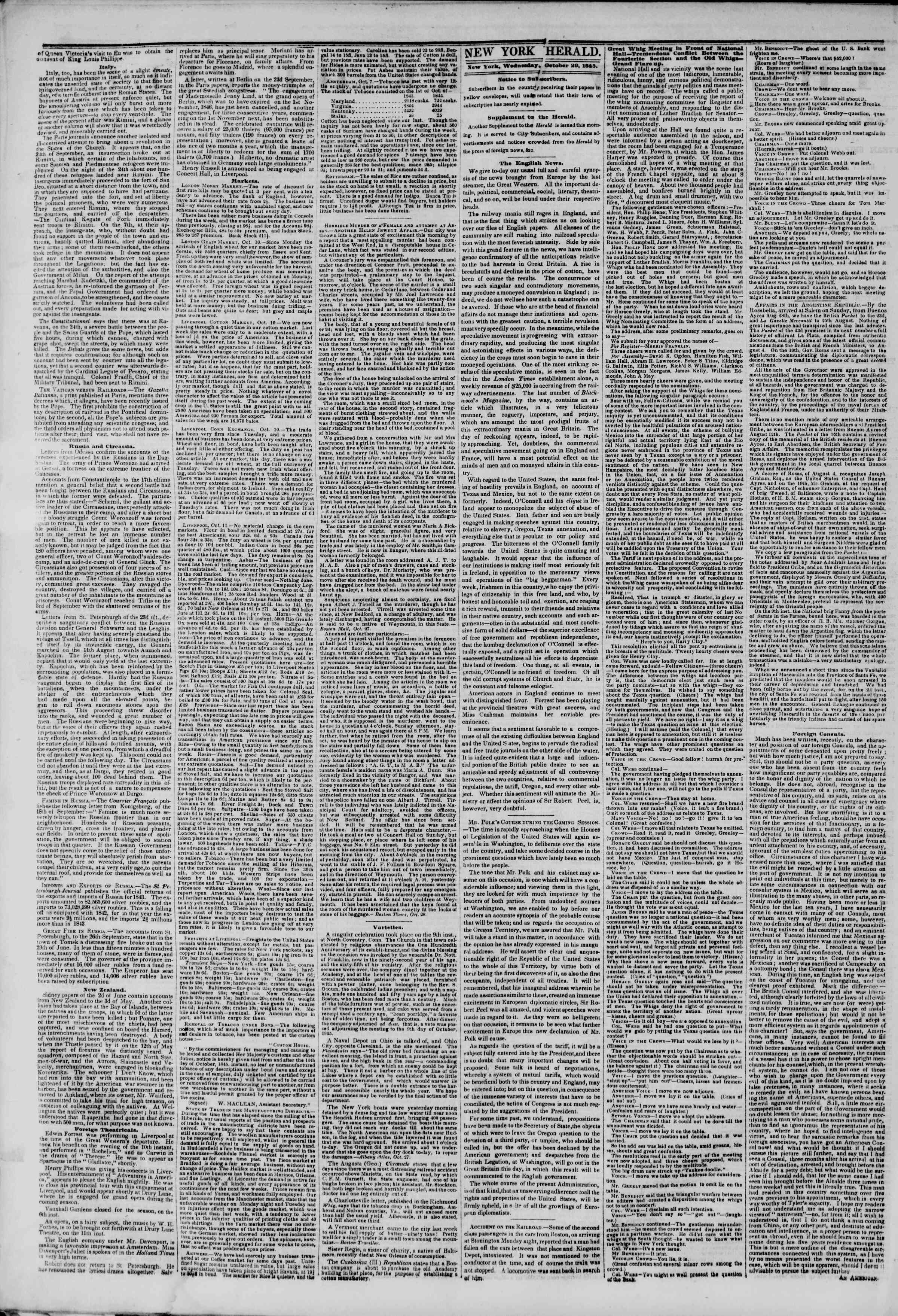 29 Ekim 1845 Tarihli The New York Herald Gazetesi Sayfa 2