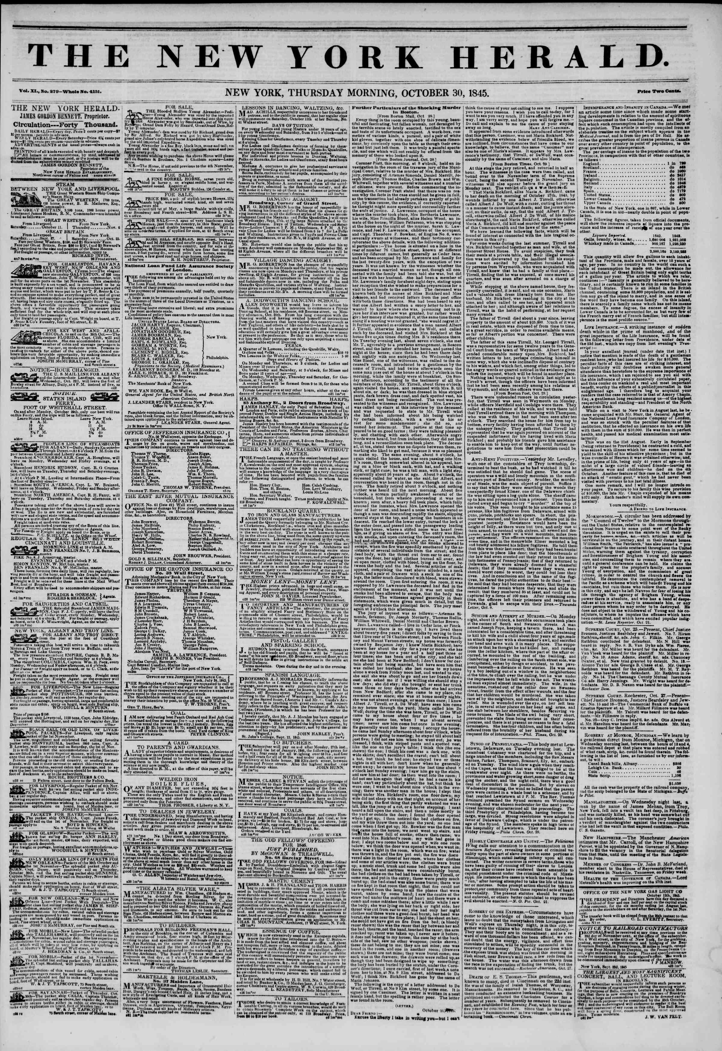 Newspaper of The New York Herald dated October 30, 1845 Page 1