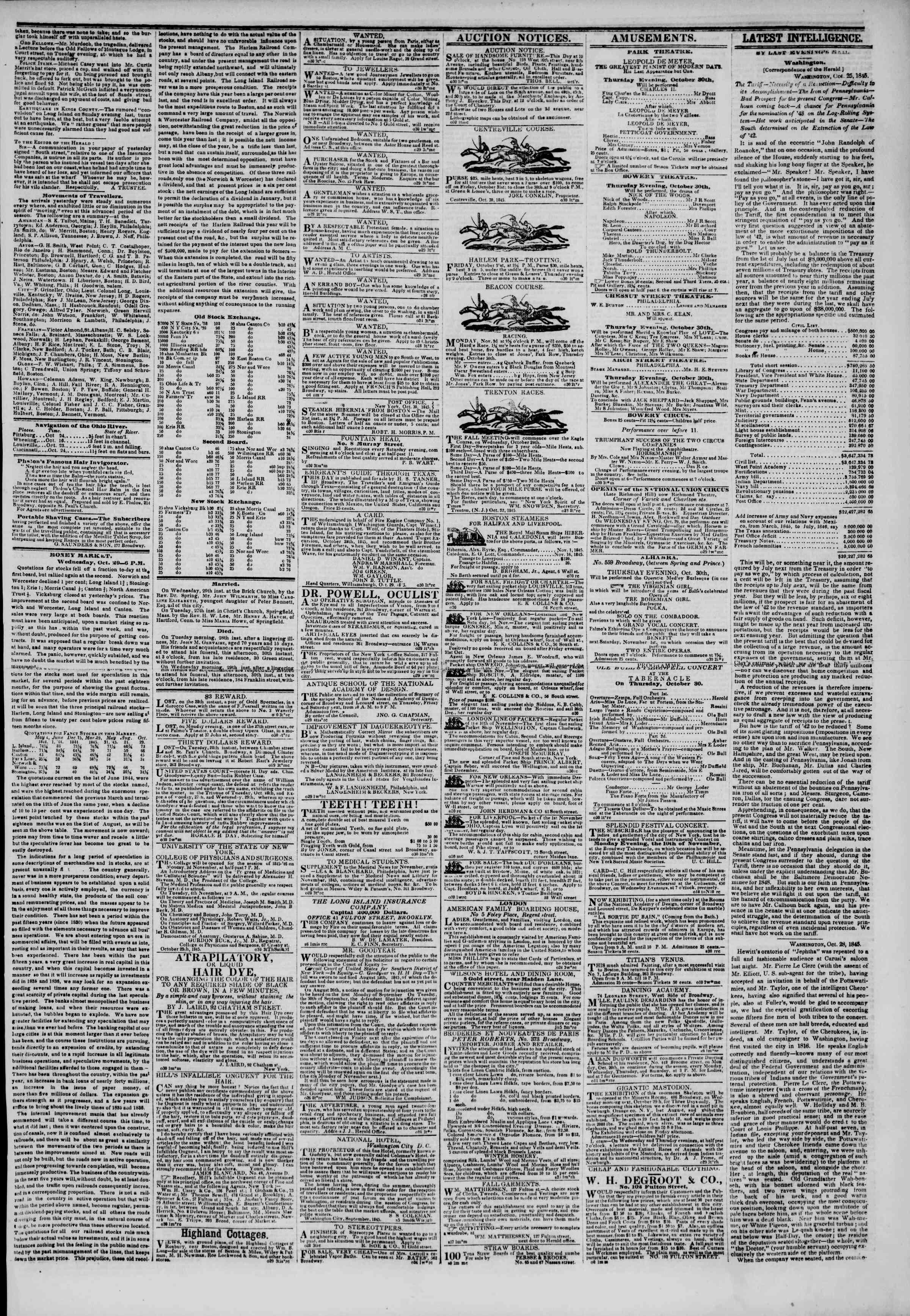 October 30, 1845 Tarihli The New York Herald Gazetesi Sayfa 3