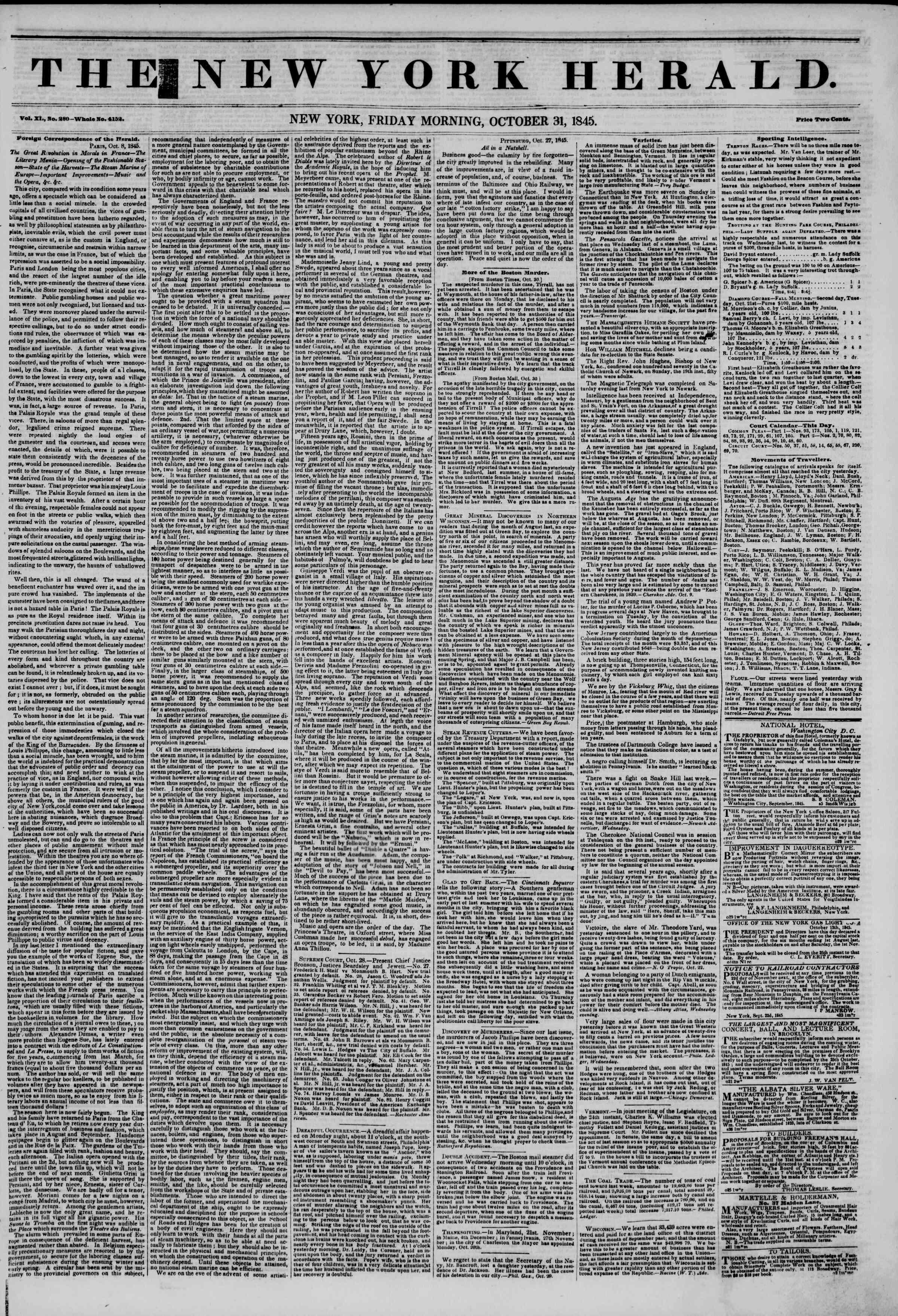 October 31, 1845 Tarihli The New York Herald Gazetesi Sayfa 1