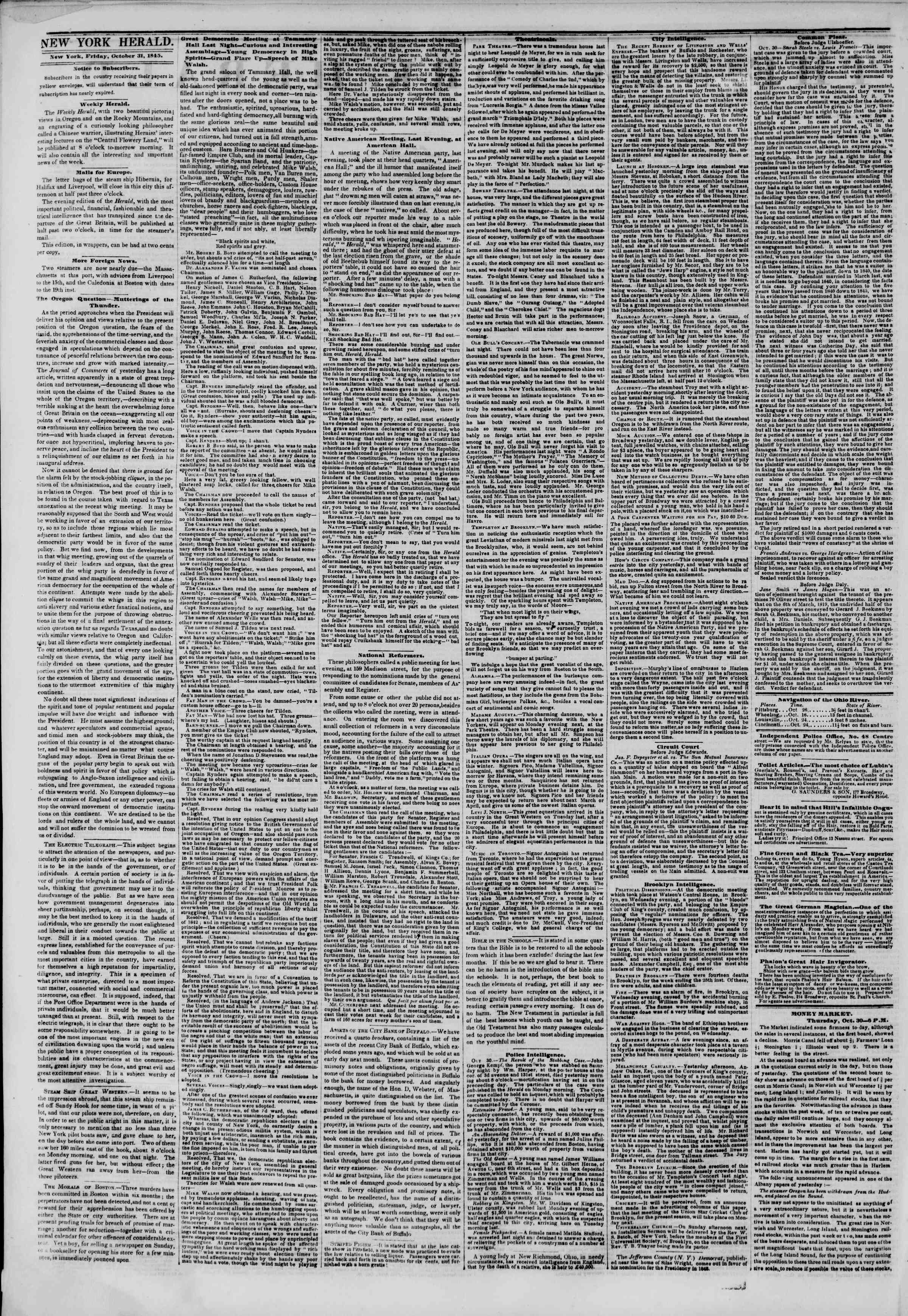 Newspaper of The New York Herald dated October 31, 1845 Page 2