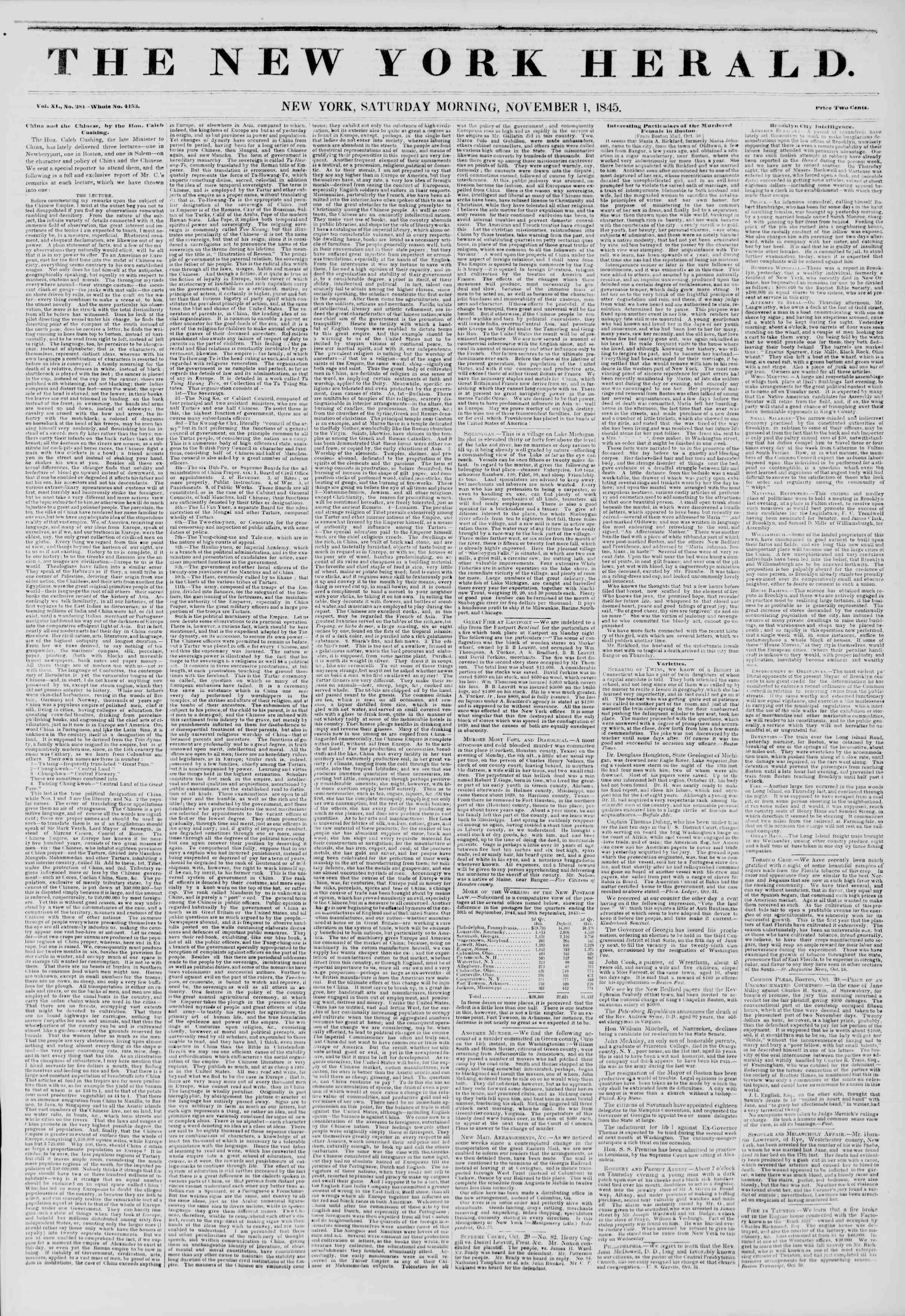 November 1, 1845 Tarihli The New York Herald Gazetesi Sayfa 1