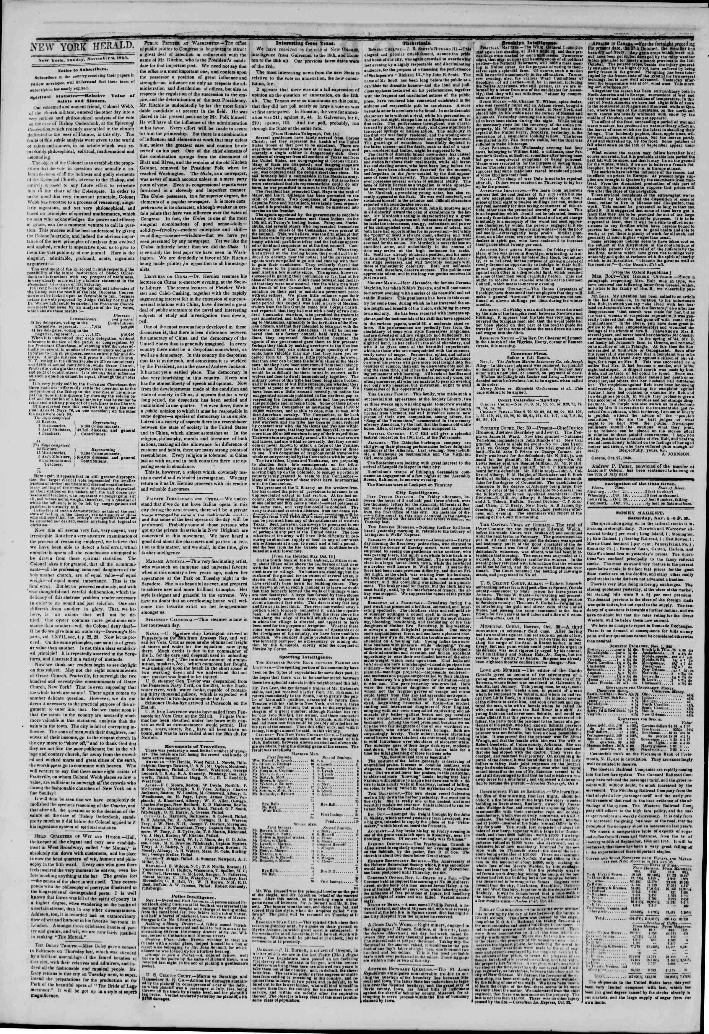November 2, 1845 Tarihli The New York Herald Gazetesi Sayfa 2